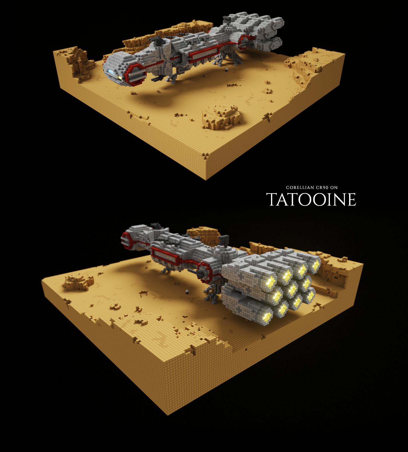 3D object millenium falcon voxel voxelart Magicavoxel modeling rendering star wars
