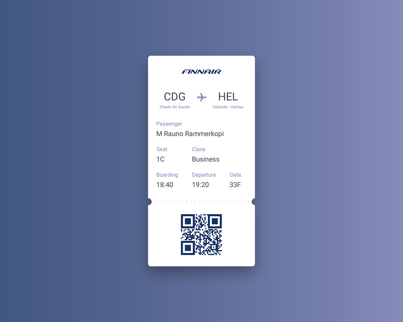 UI ux DailyUI design Interface boarding pass Web app mobile