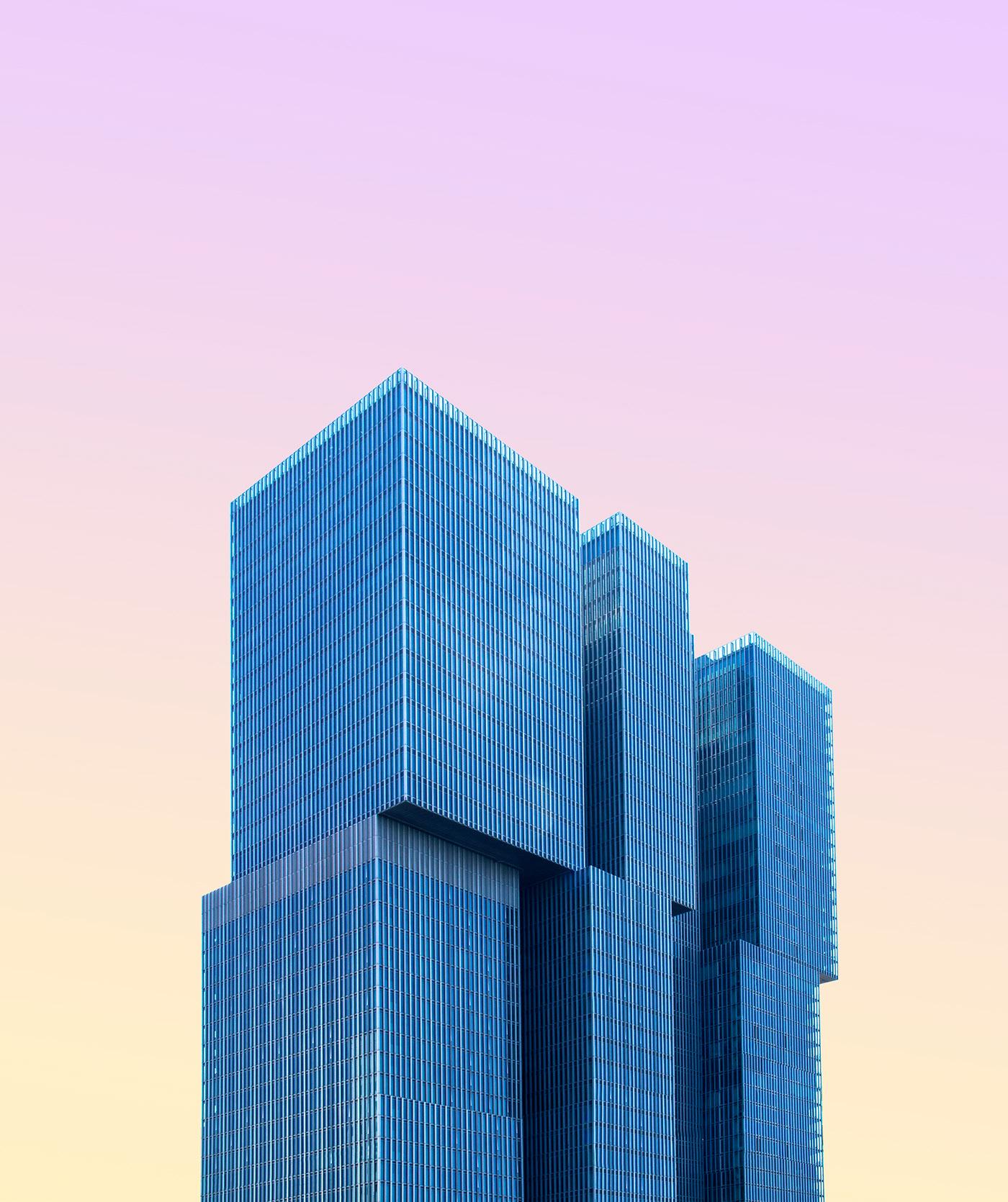 minimal architecture city Rotterdam pastel Minimalism geometry building SKY Urban