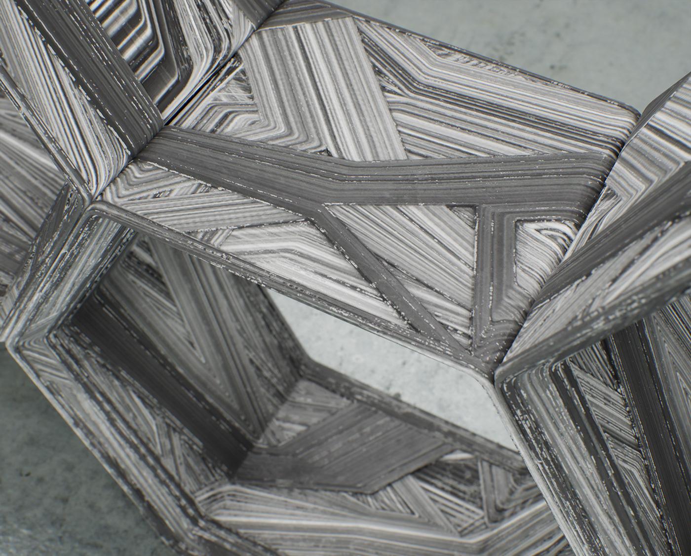 architecture furniture hexagon Interior interior design  modular Render Shelf table turbulentarch