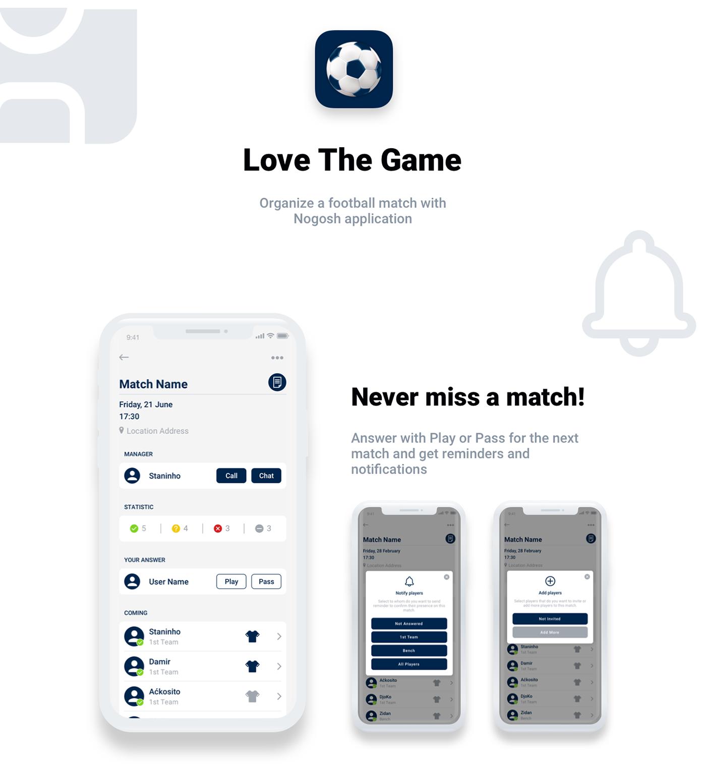 mobile app Mobile Application aplication ux UI uxui football interaction