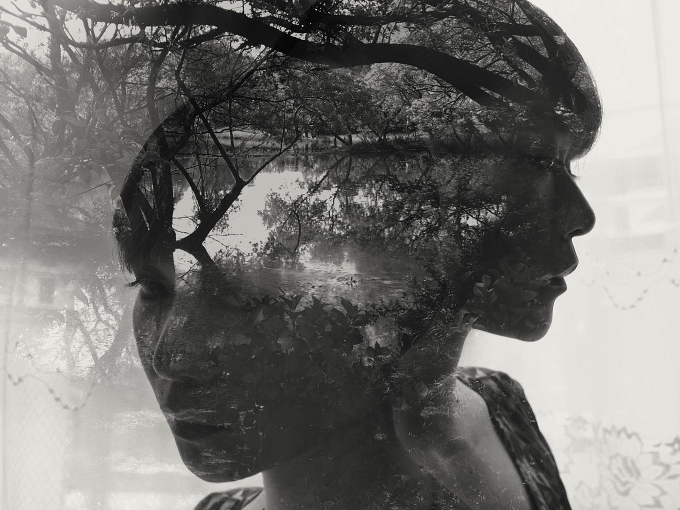 portrait black and white Exposure multiple exposure people