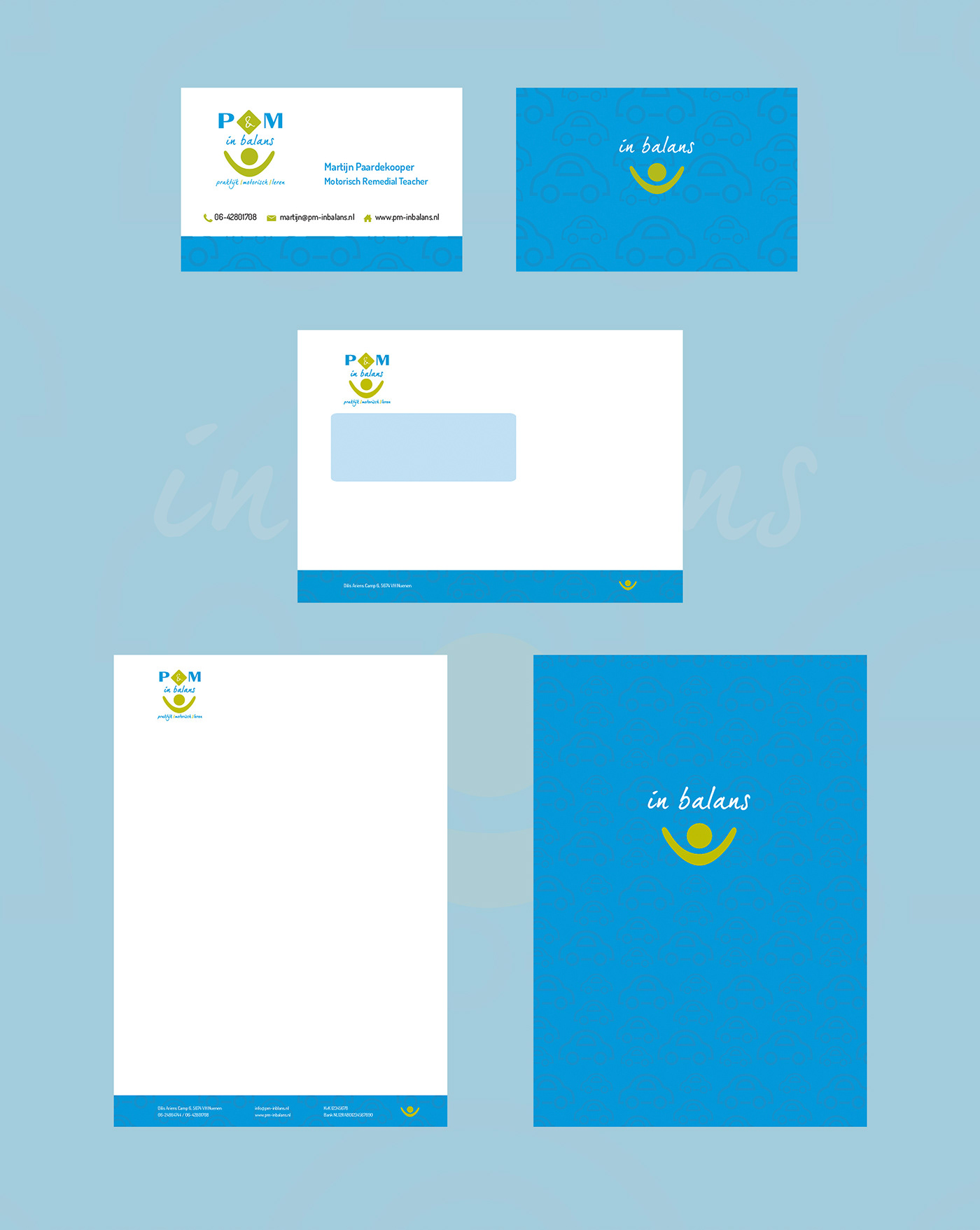 Adobe Portfolio logo visitekaartje Briefpapier envelop branding  graphic design  Illustrator Logo Design