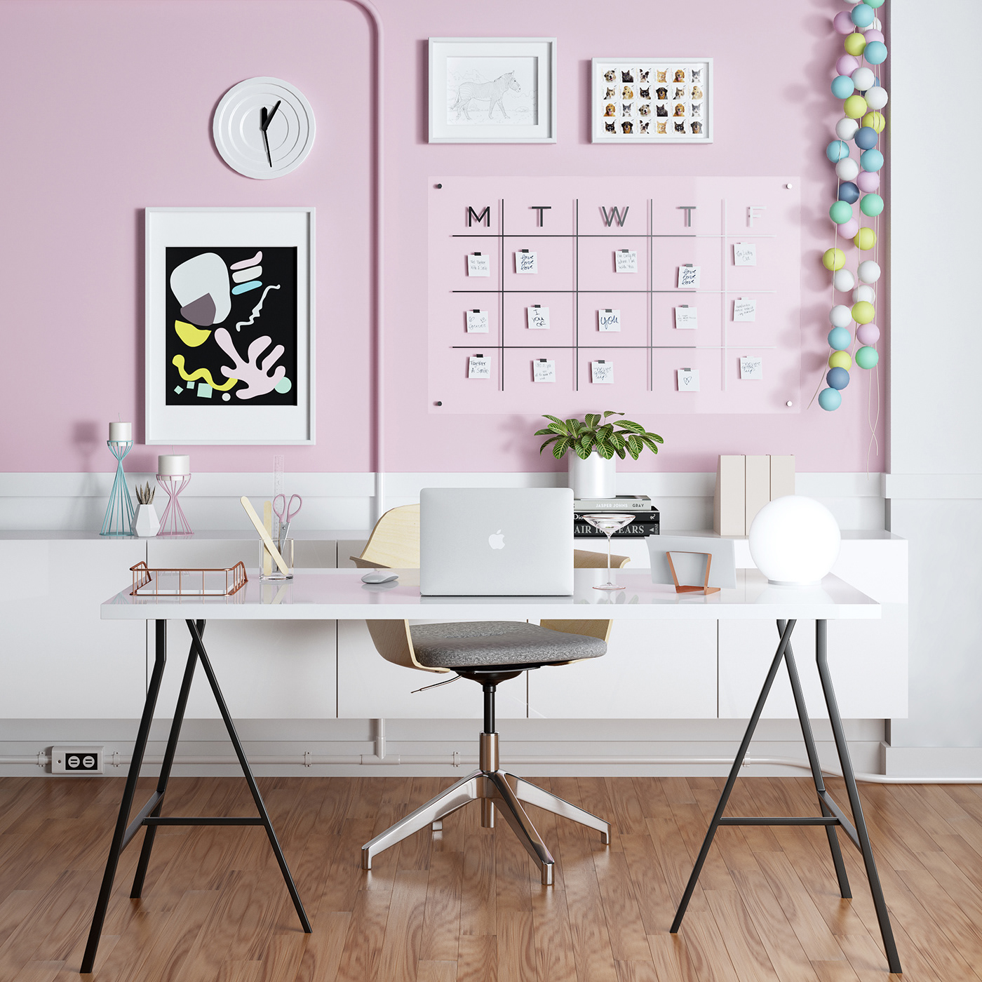 3dmodel ikea home offiice decoration pink girly tableandchair Interior design