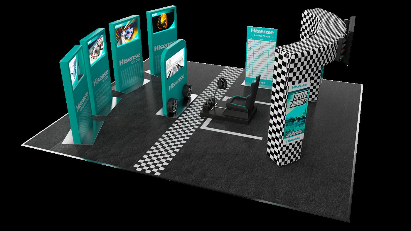 Hisense tv Racing cinema 4d vray photoshop Illustrator 3D activations branding
