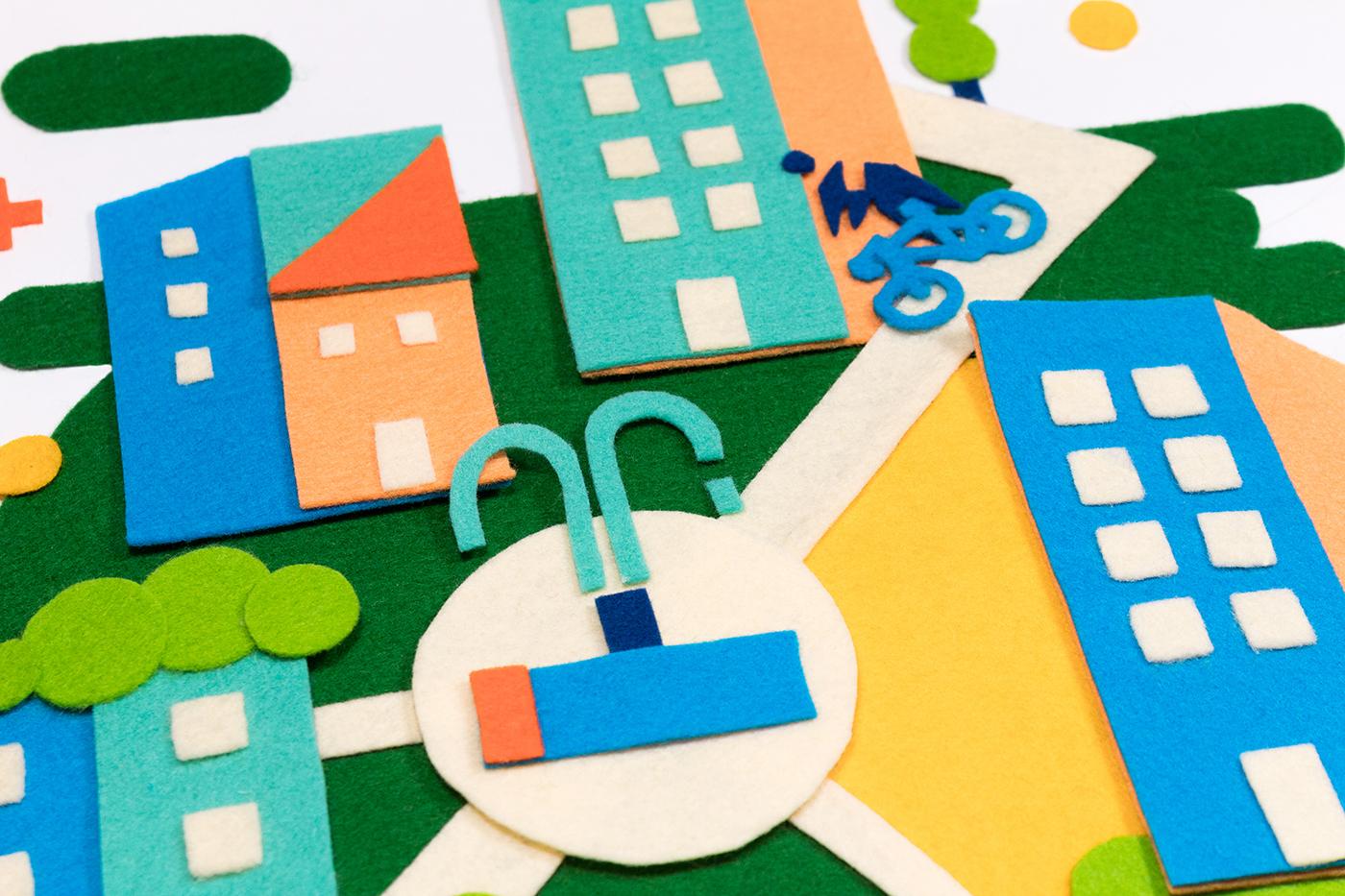 craft,felt,handmade,ILLUSTRATION ,vector,minimal,clean,flat,enviroment,climate