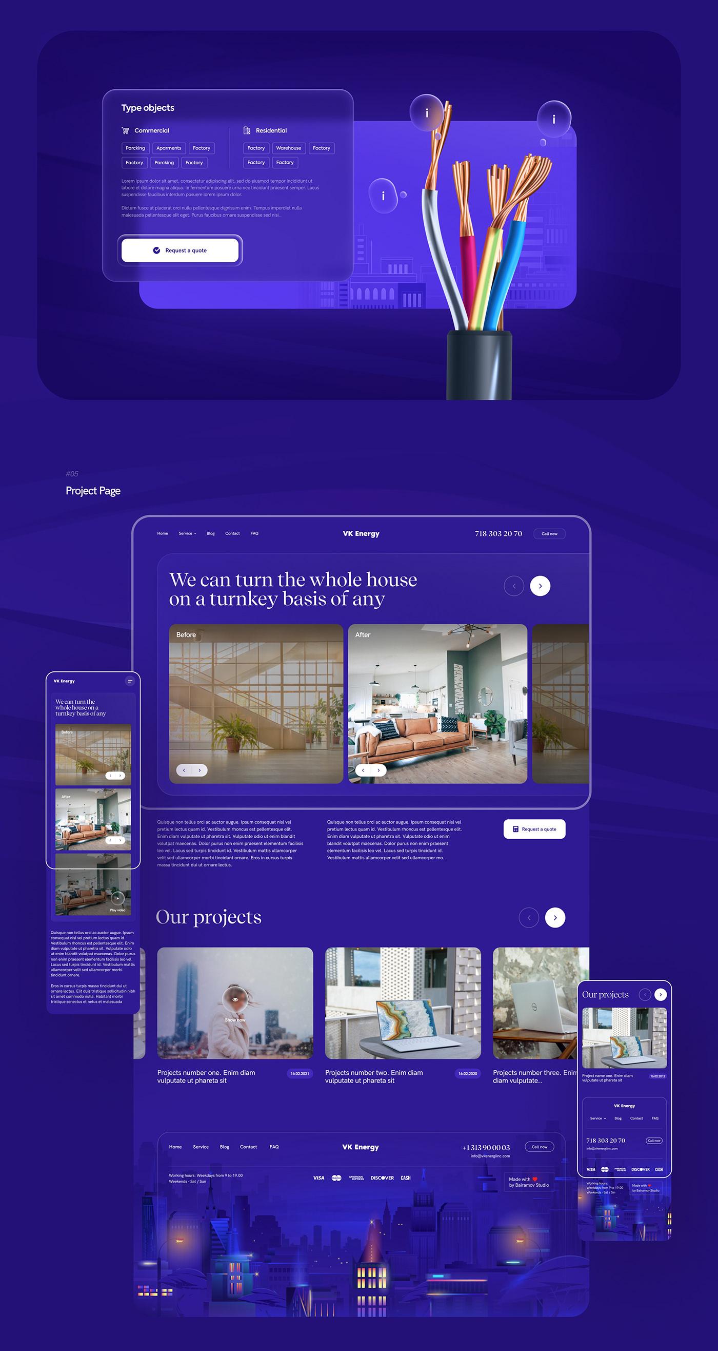 Bairamov studio,city,electricity,ILLUSTRATION ,Interface,lighting service,New York,UI,ux,web site