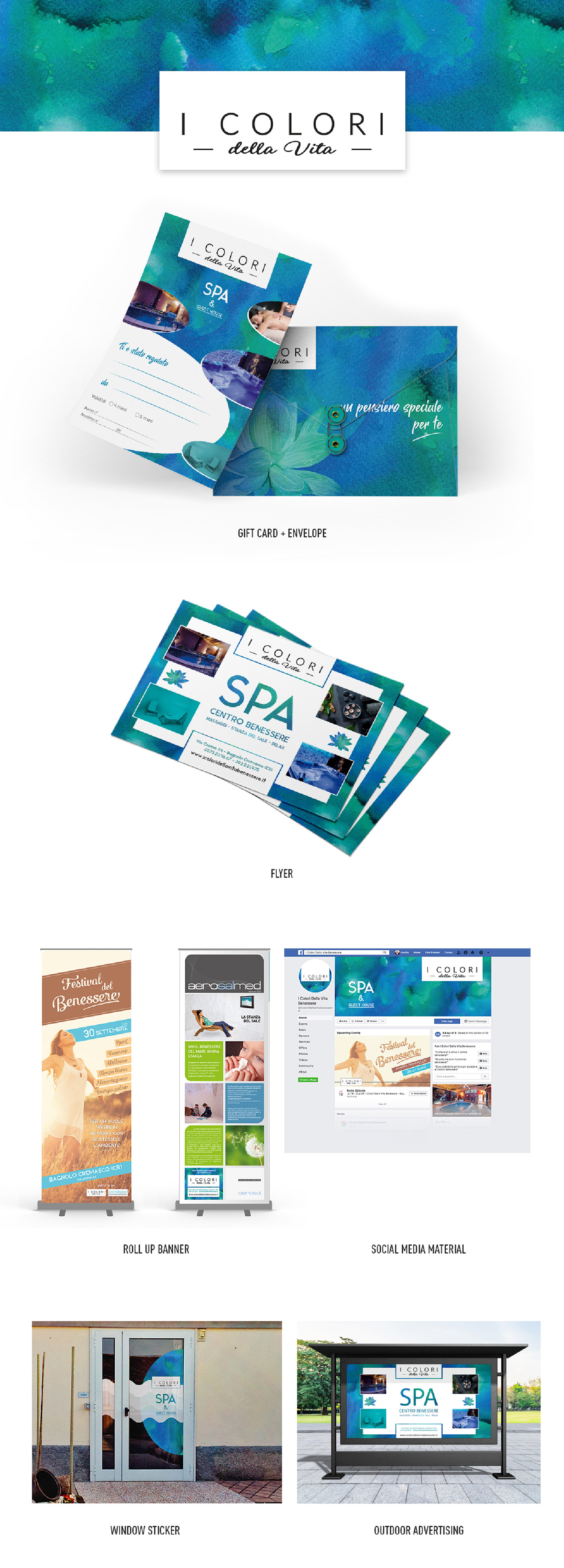brand Exhibition  flyer Internal Signage logo material rollup Spa standup