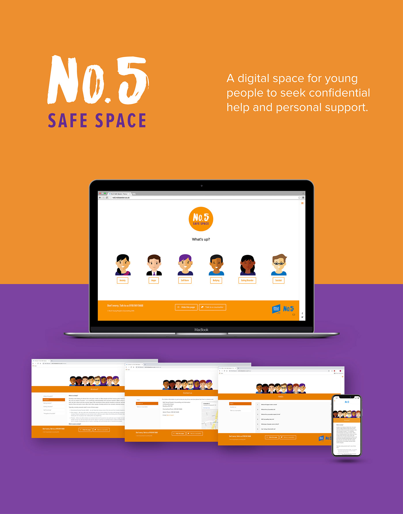 Website Young people counselling wordpress Custom orange ILLUSTRATION  characters