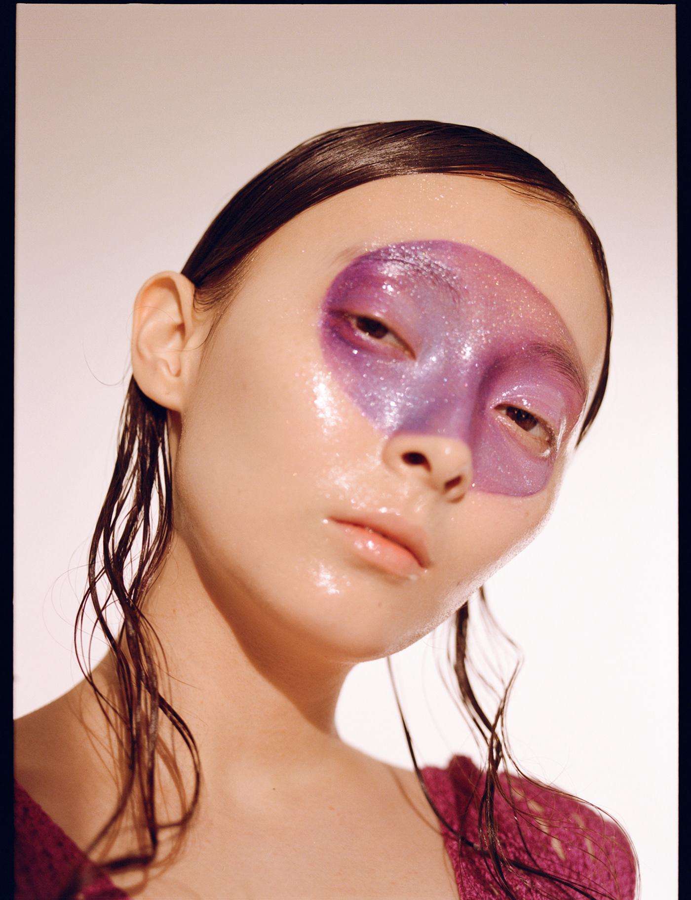 beauty beauty make up BEAUTY PHOTOGRAPHER FASHION PHOTOGRAPHER fashion shooting film photography Mamiya portrait purple studio light