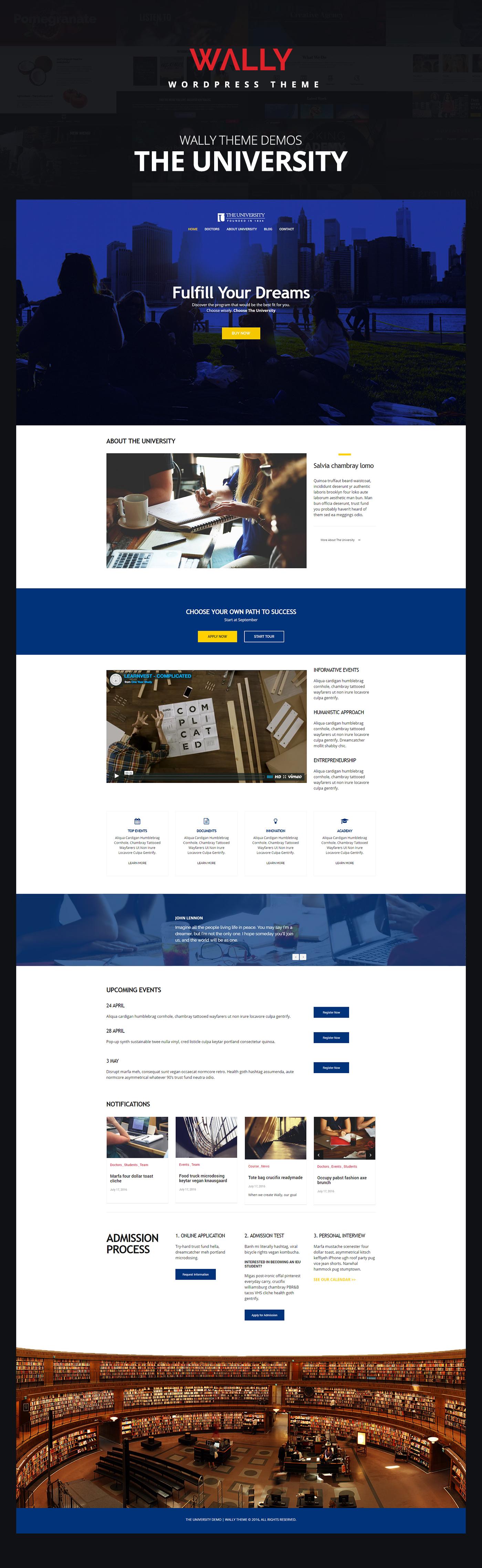 wordpress Theme UI ux Web design demo envato themeforest University