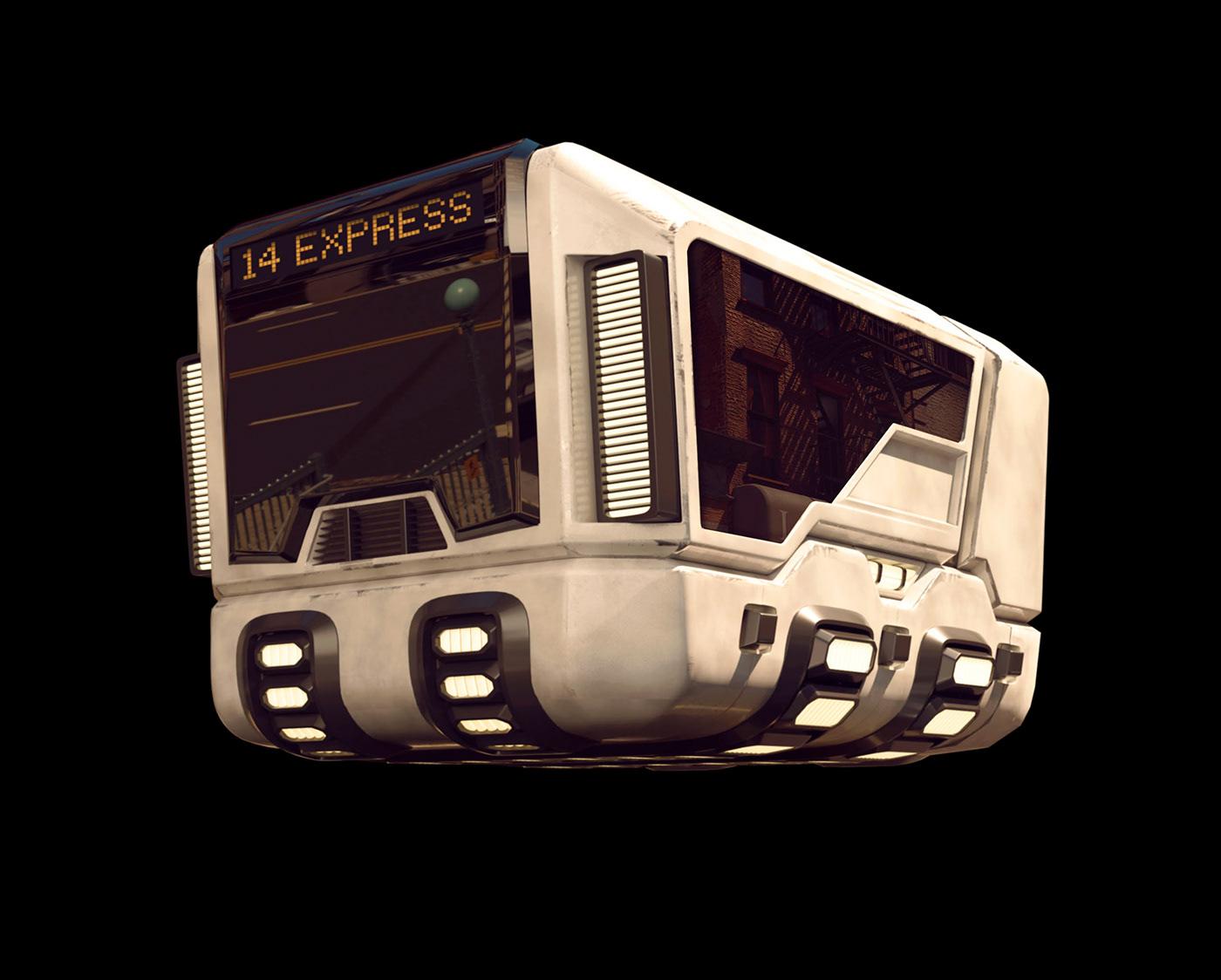 3D CGI Cyberpunk future service volkswagen combi t1 vintage beetle