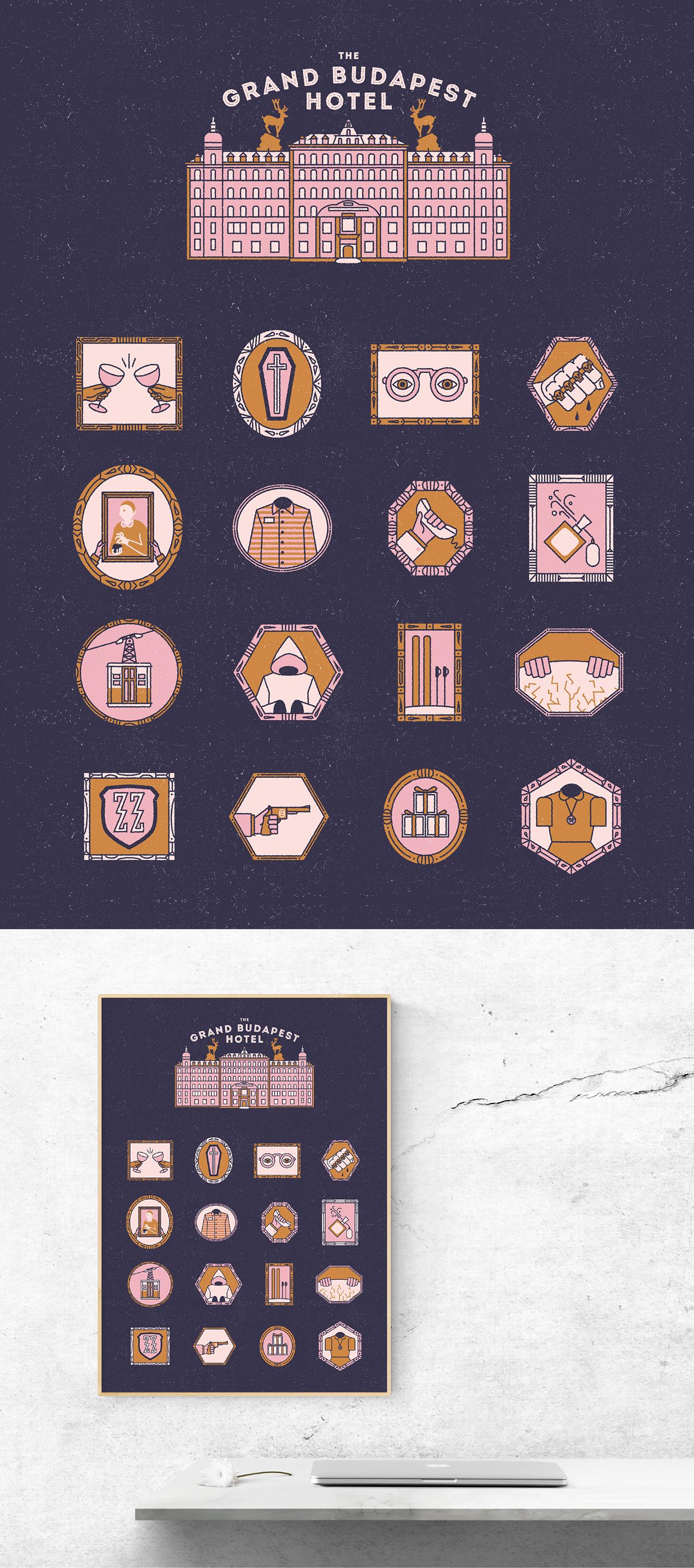 wes anderson Icon ILLUSTRATION  Film   movie frame set poster design monoline