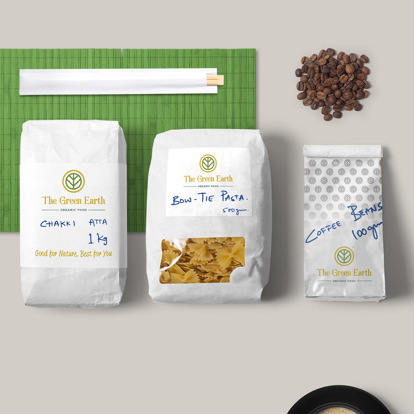 organic store India green herbal Food  identity brand logo design