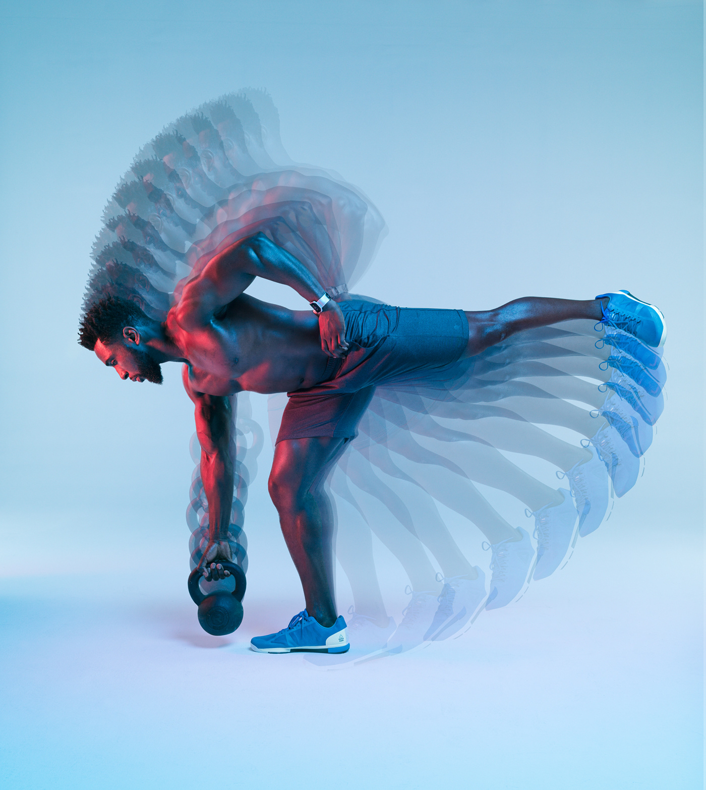 chronophotography multiple exposure fitness muscle gym body man motion blue weights
