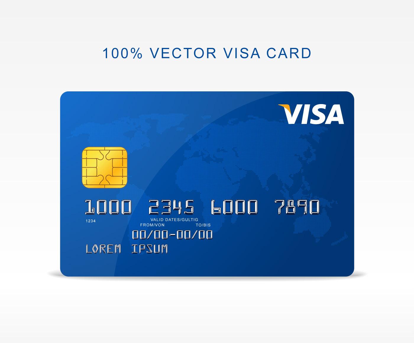 Freebie - Vector Visa Credit Card on Behance