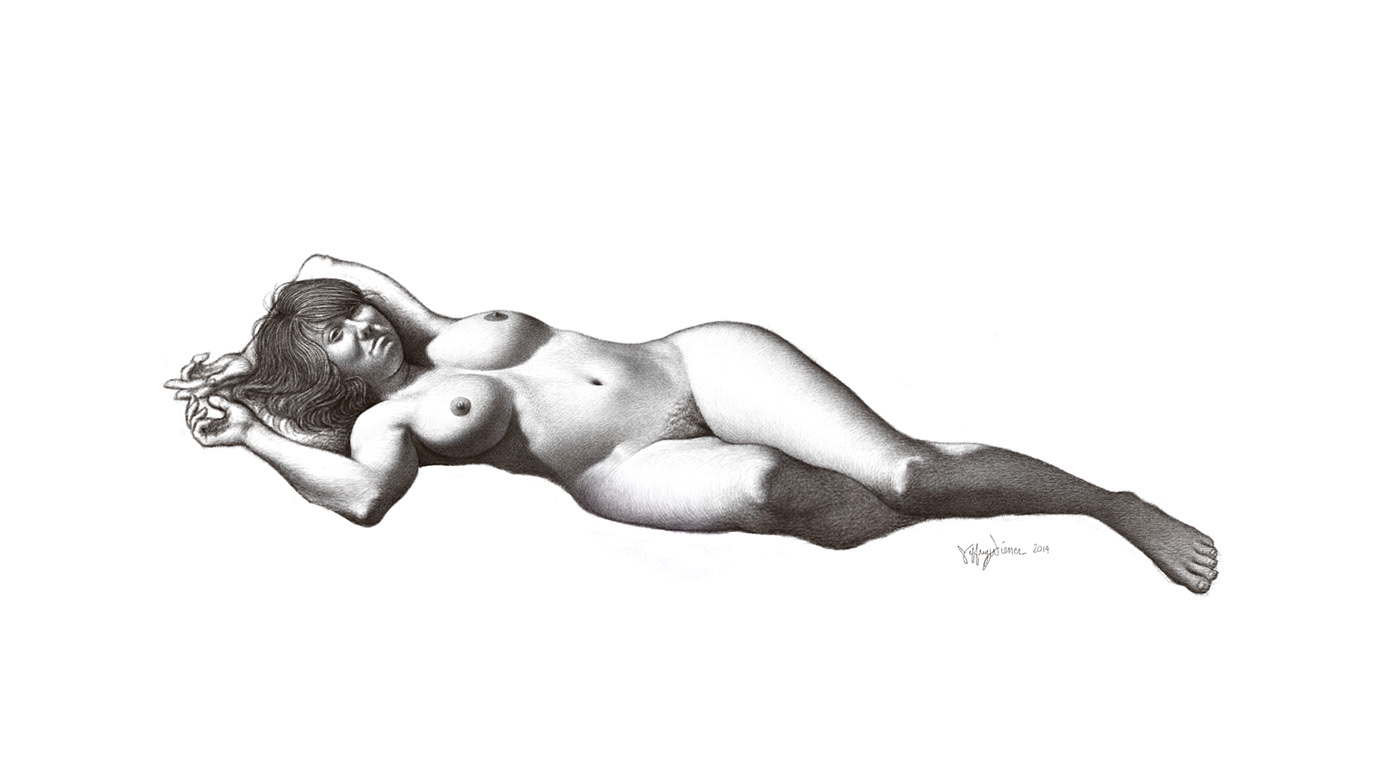 Nude female ink drawing