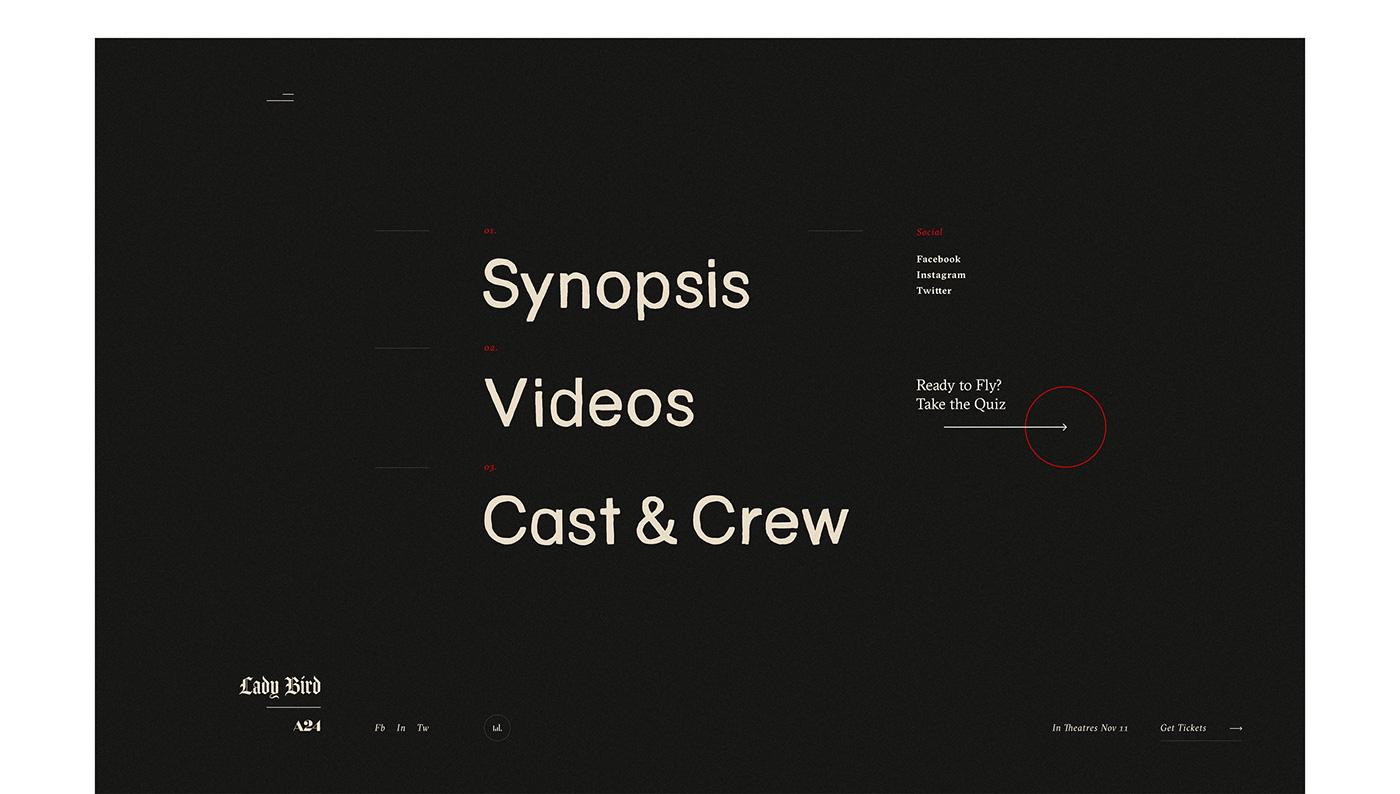 Website Film   movie lady bird interaction Drag ILLUSTRATION  Layout grid editorial