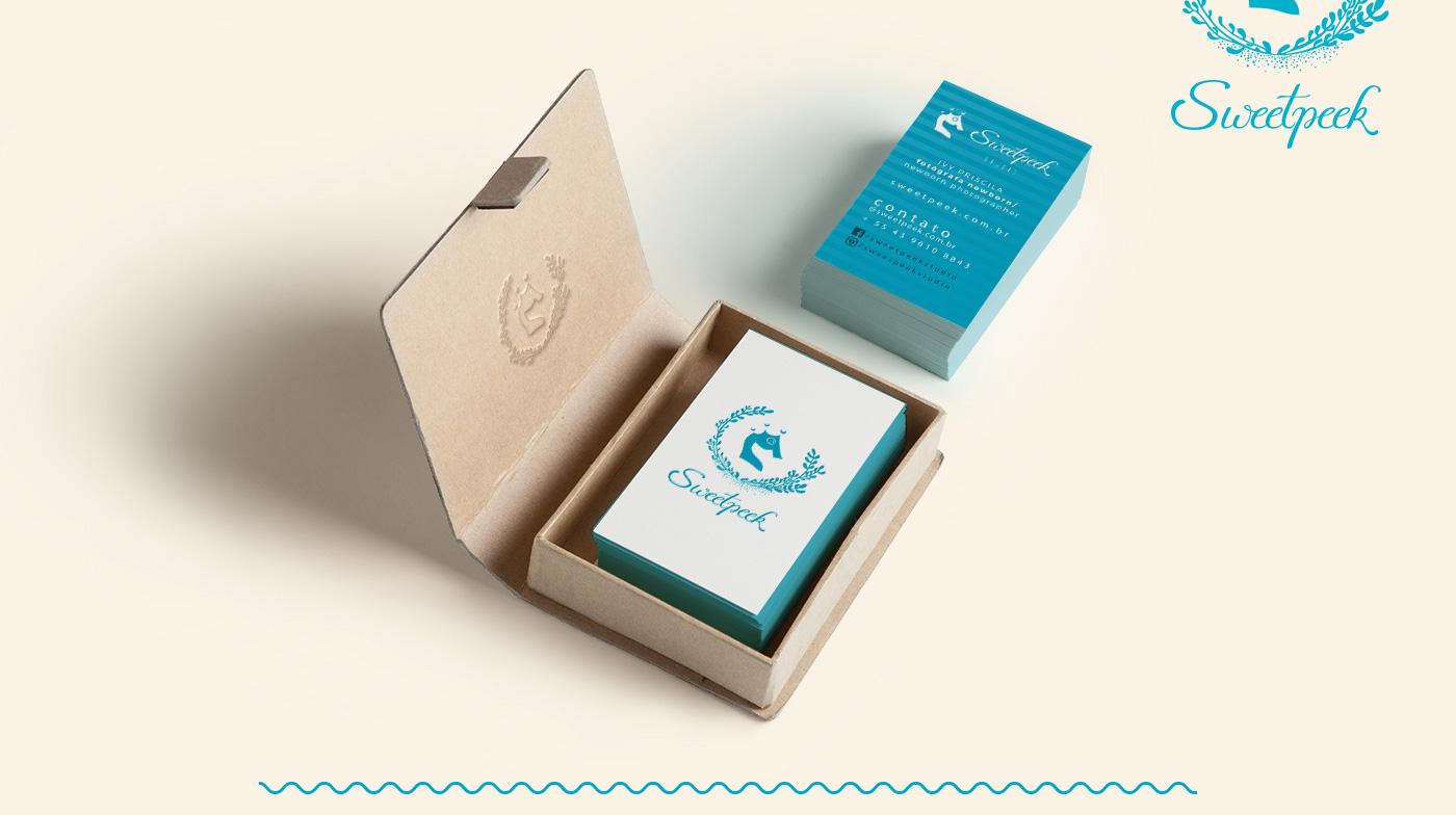 newborn brand logo marca identidade visual cartão de visitas gestante sweet peek Fotografia caligrafia