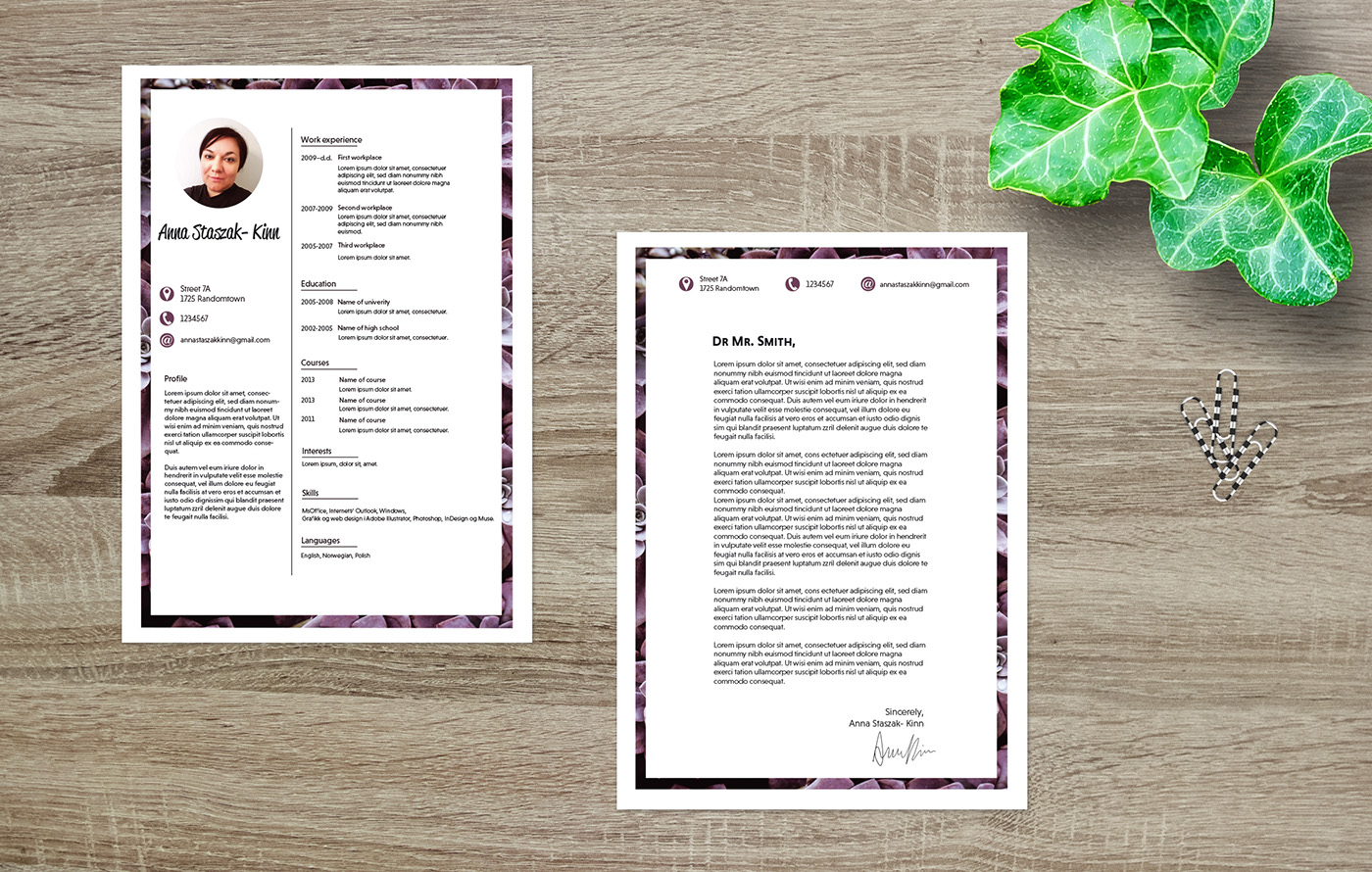 Cv and reference letter templates on behance cv and reference letter template with succulent frame font used niveau grotesk spiritdancerdesigns Images