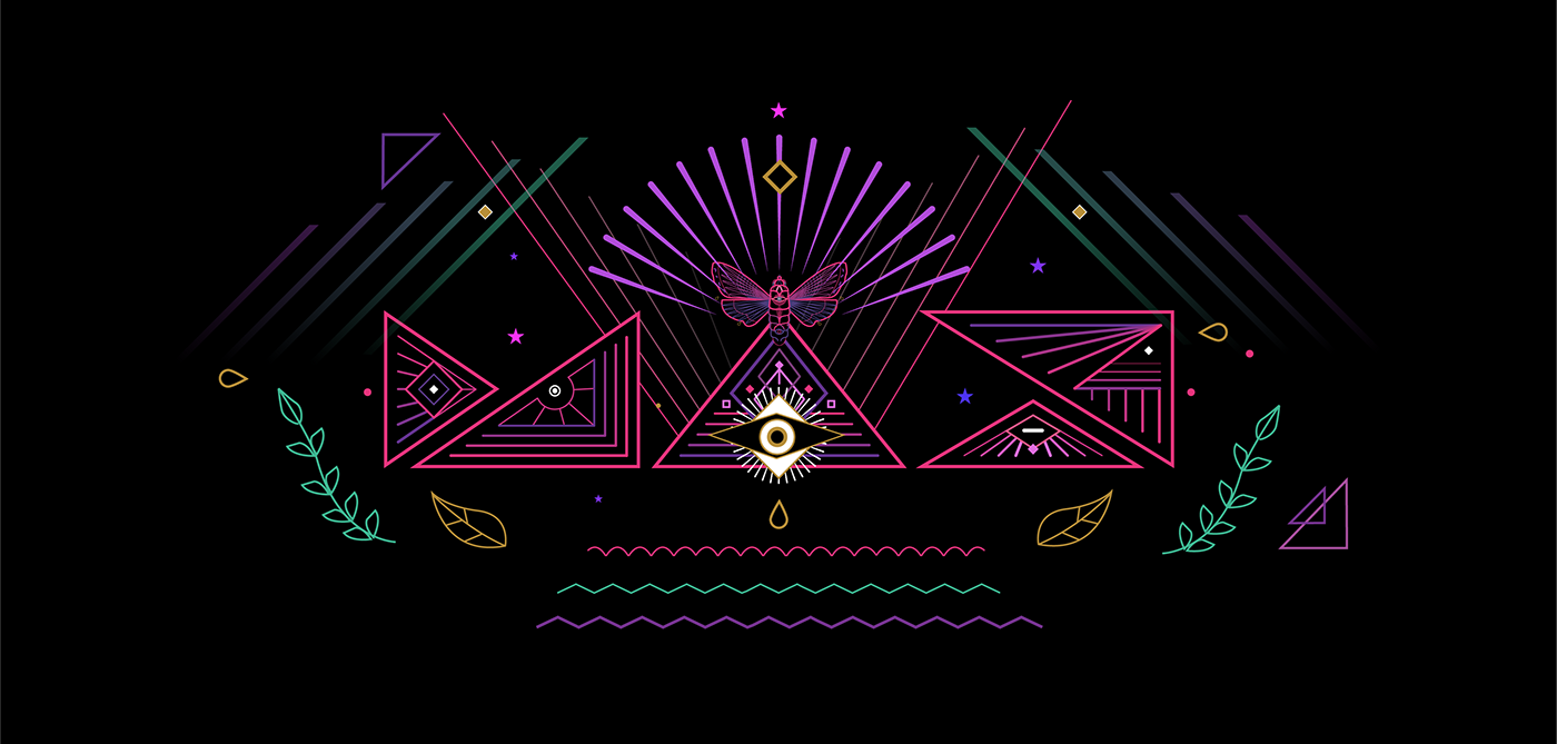 adobe event identity conference neon light glow reflection animation  motion graphics  compositing