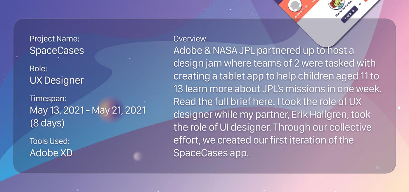Adobe creative jam kids app learning app nasa outerspace