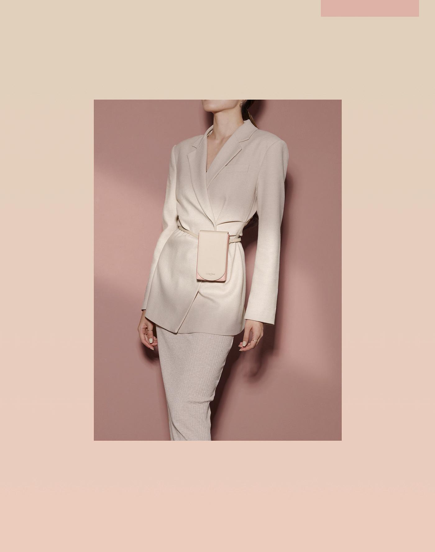 Image may contain: coat, dress and handbag