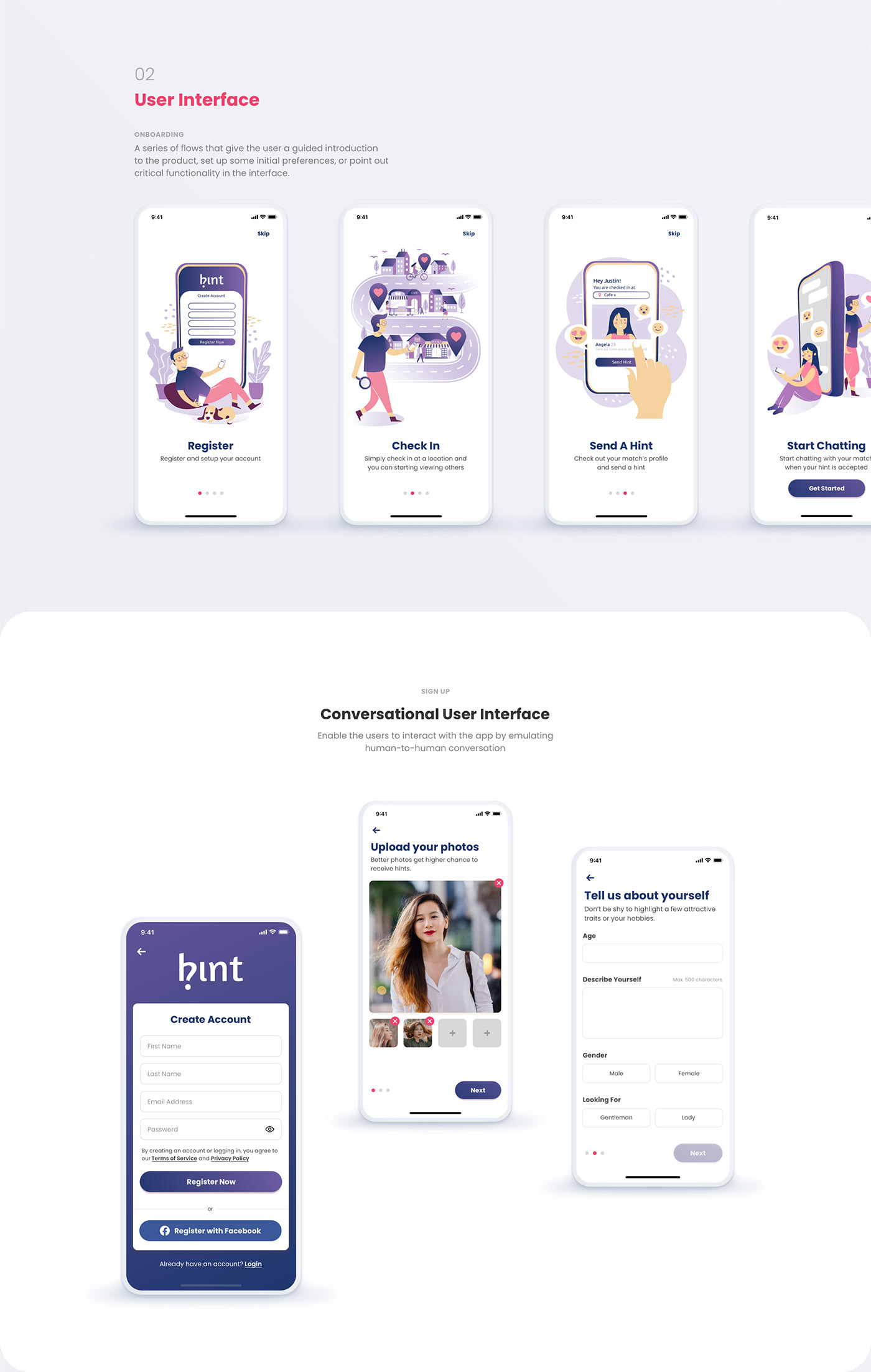 dating app dating matches purple ui tinder user interface Meeting App messaging