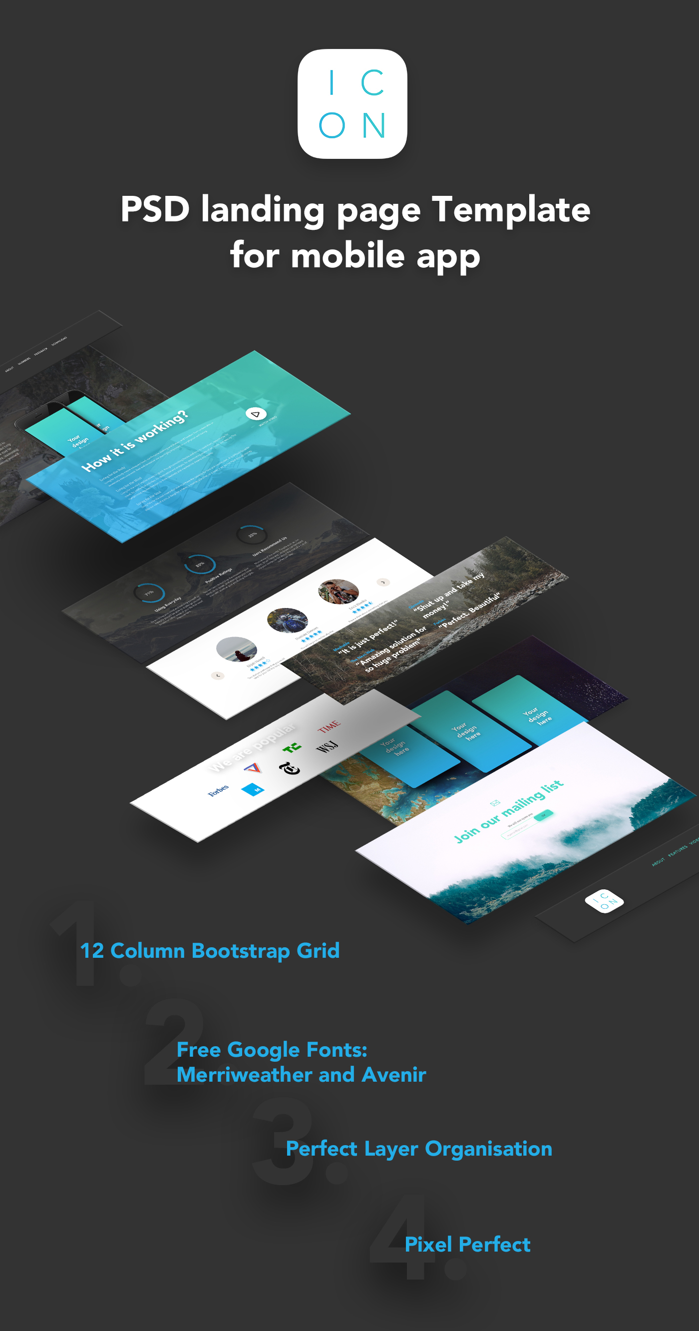 ICON - PSD landing page Template for mobile app on Behance