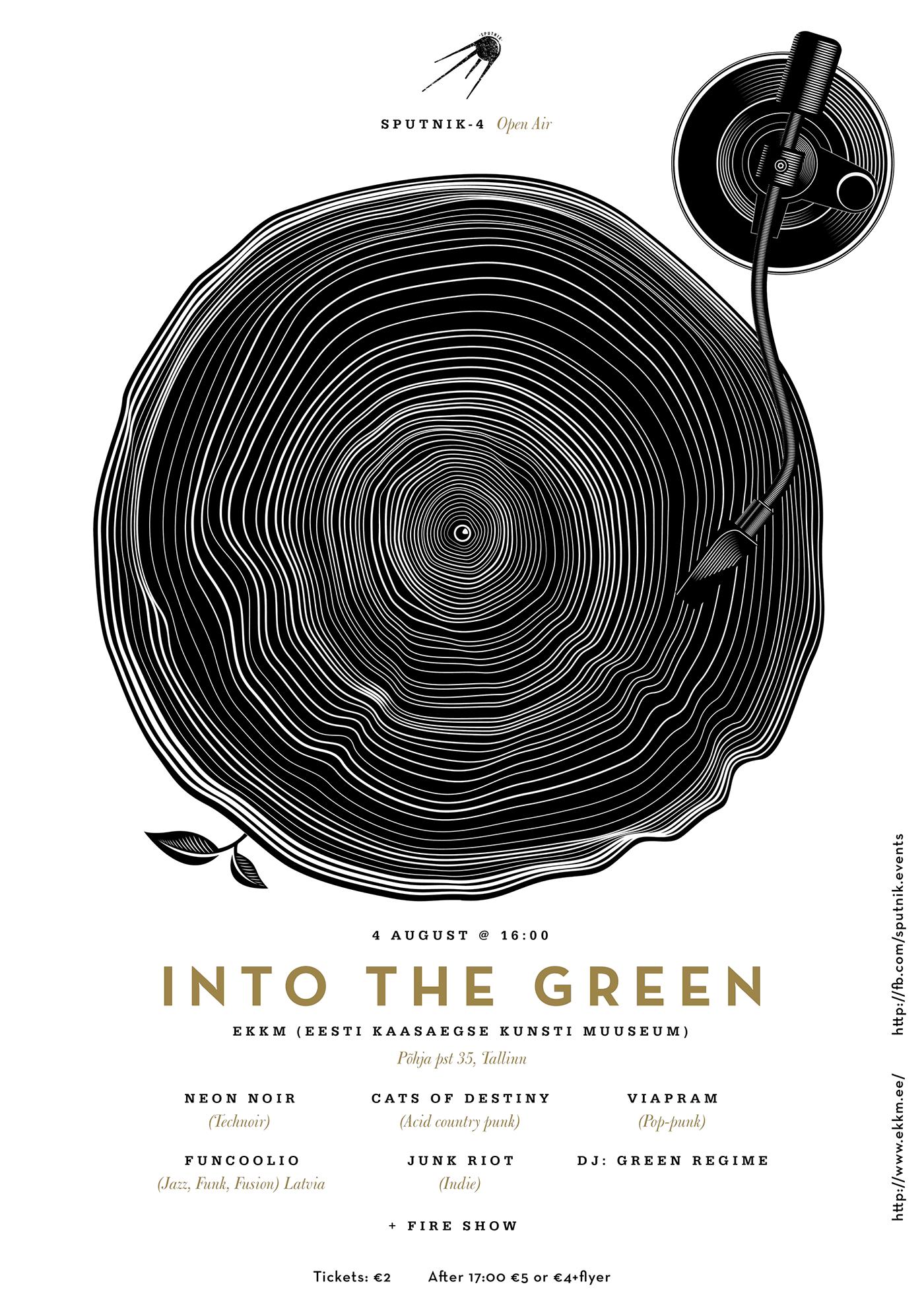 into the green Sputnik open air Event poster print vinyl stump player anton burmistrov Graphic Designer Estonia Tallinn turntable