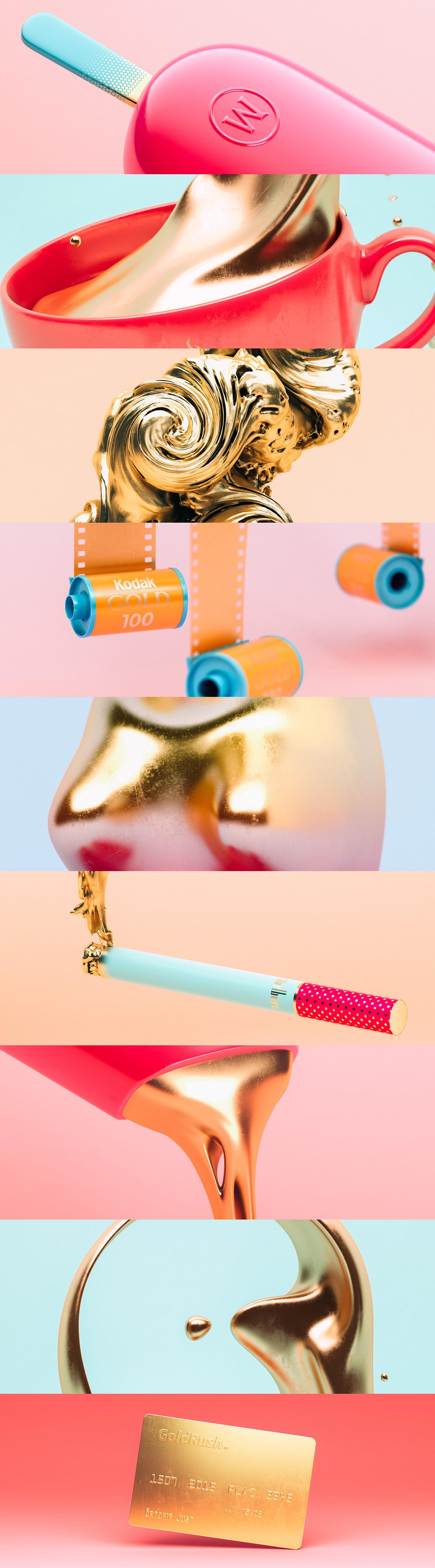gold shiny 3D Render magnum jacobs haribo kodak marlboro