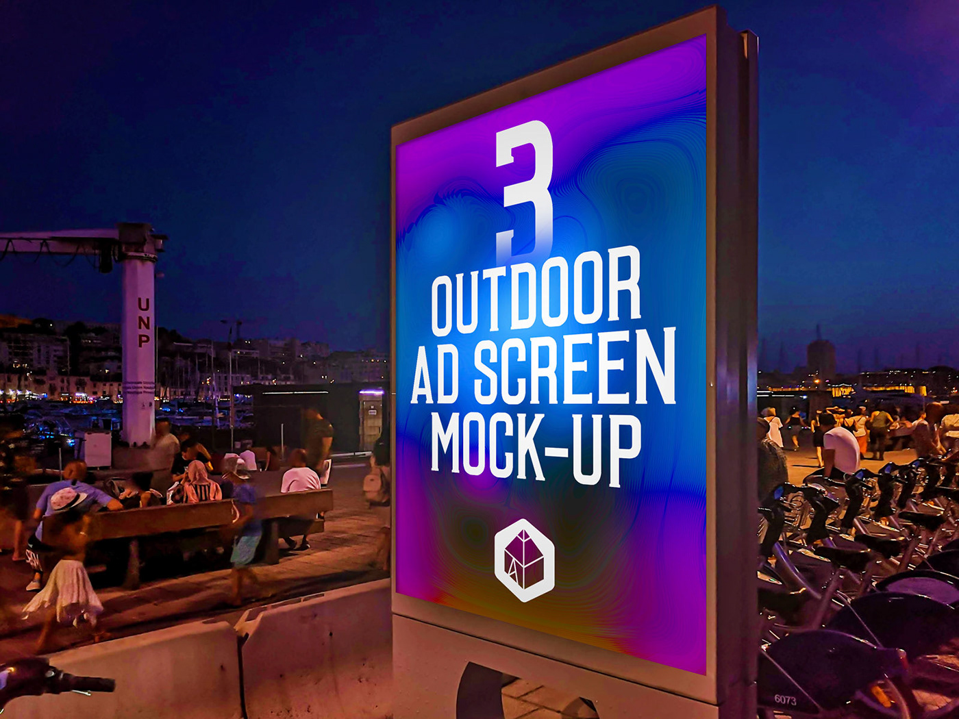 ad advertisement Advertising  Display mock-up Mockup Outdoor poster screen Street