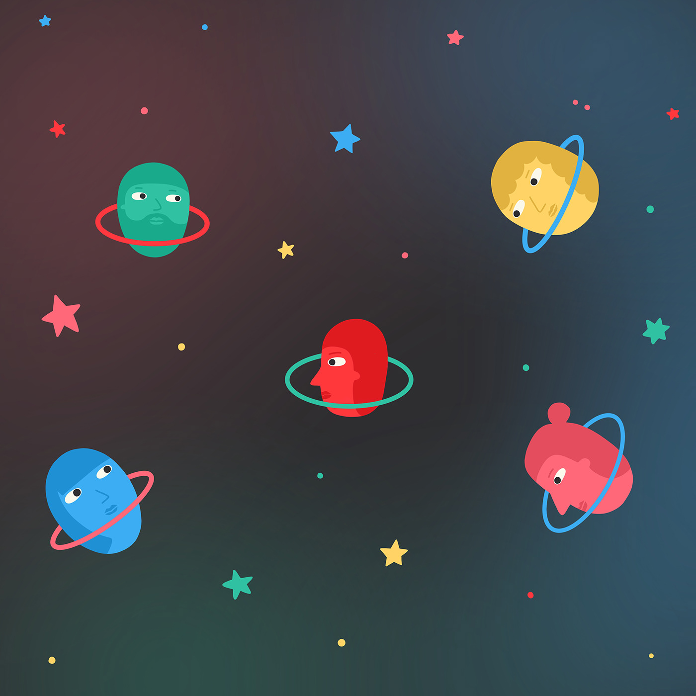 Space  stars people planet family