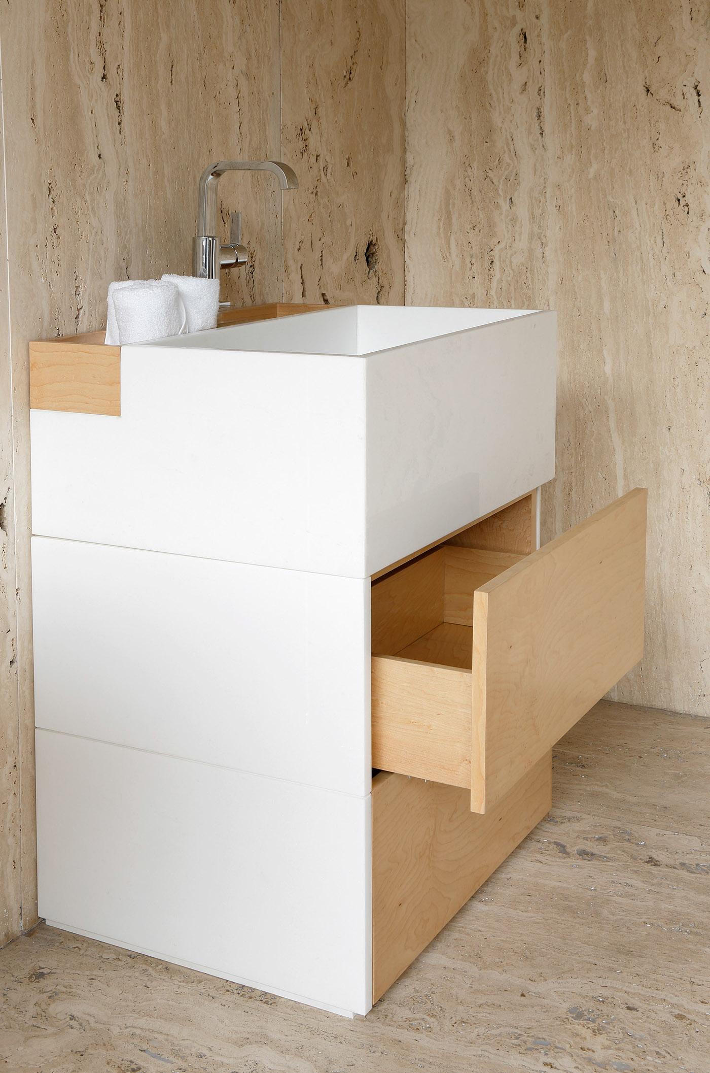 Marble Black Slate minimal design washbasin white marble wc wood Travertine FABIO TEIXEIRA design
