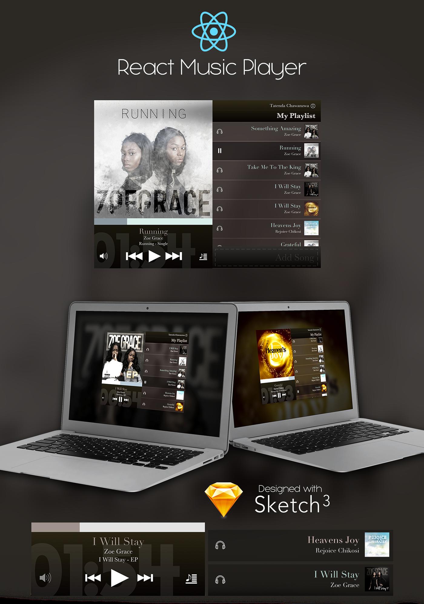 React.js sketch app Adobe Photoshop Music Player music UI/UX web development  graphic design  Web Design  Mobile Develoment