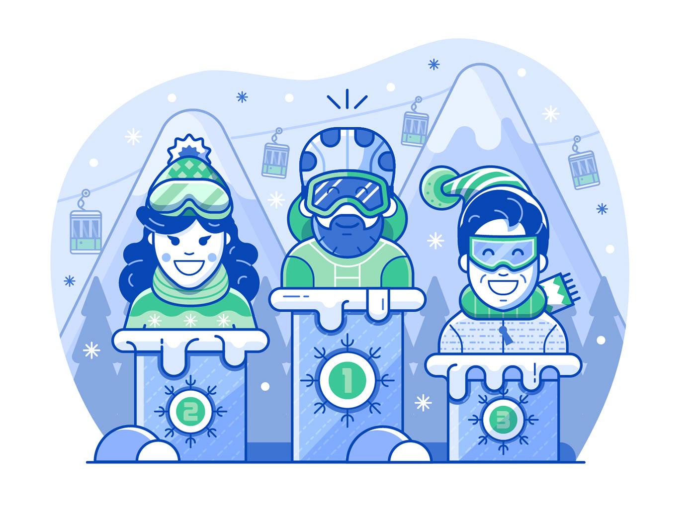app application gamification line art mobile resort Ski skiing sports winter