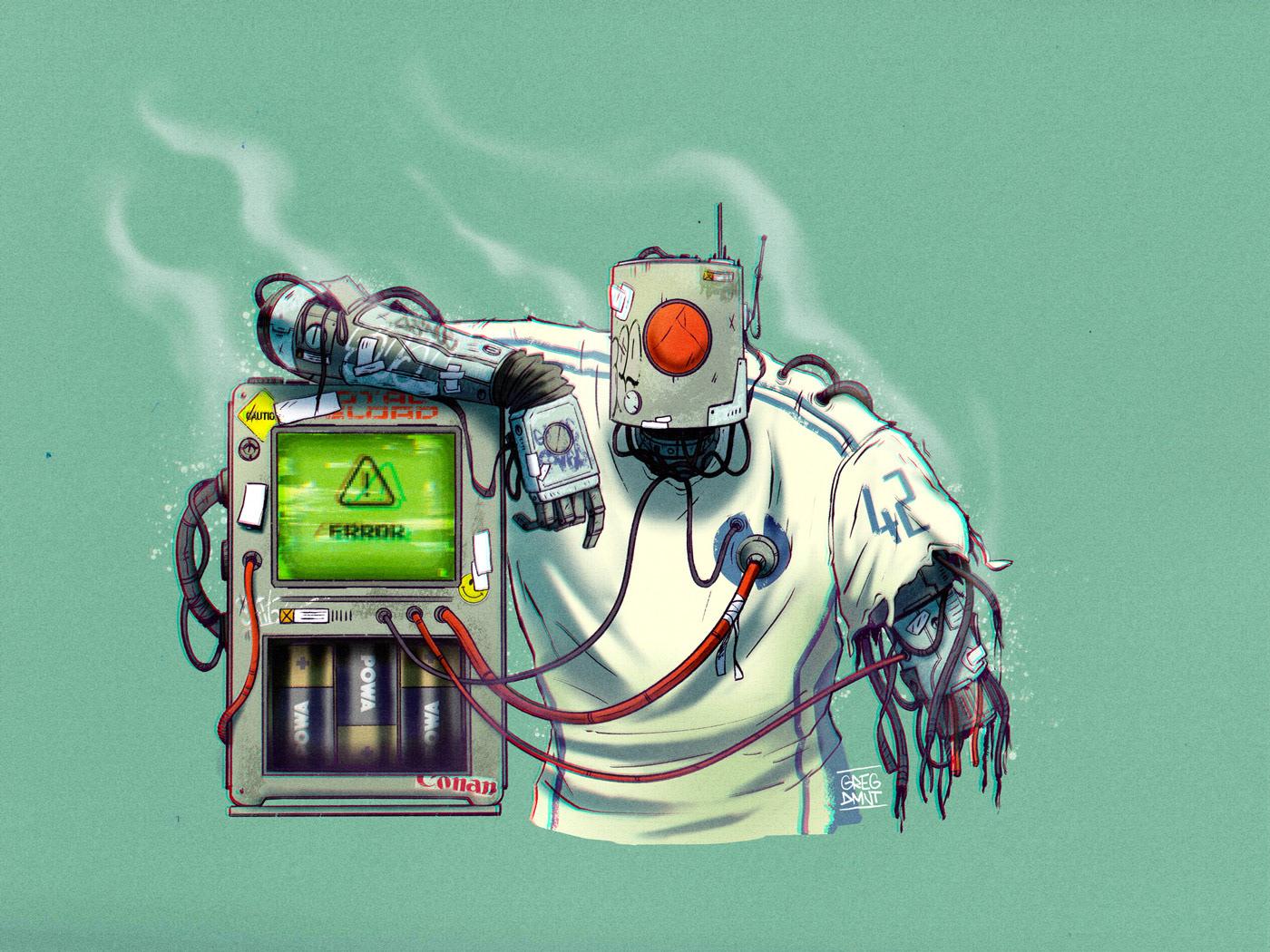 charadesign concept art Cyborg grapheart gregdmnt machine mecha robotdesign   robots Graffiti