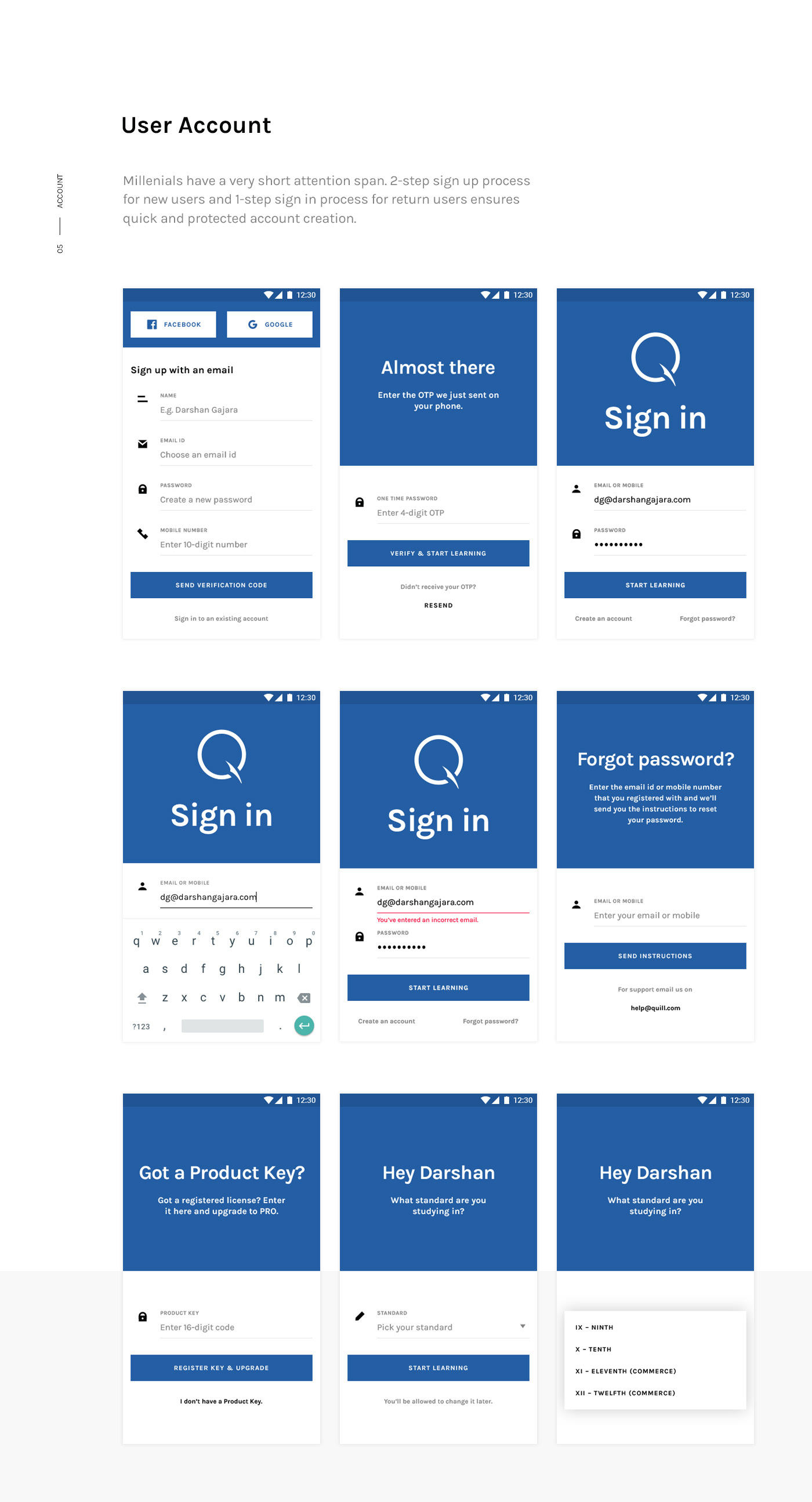 android Mobile app app design e learning edtech Education minimal school India learn