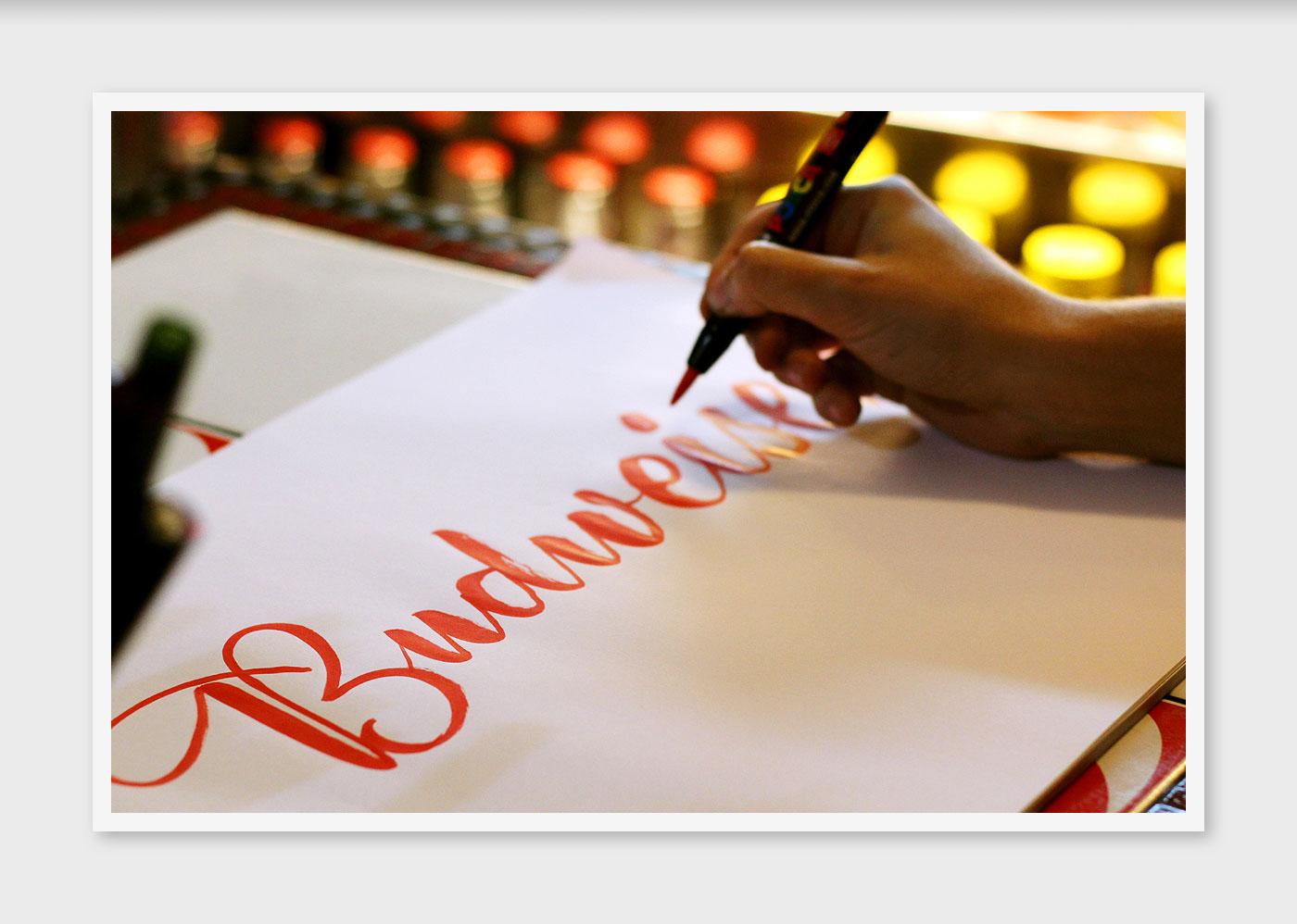 caligrafia live handmande handwriting Budweiser Calligraphy team tipografia lettering