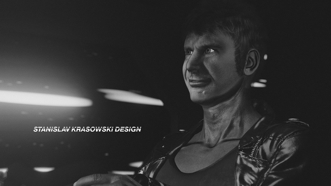 3D blade runner Harrison Ford krasowski noir poster replicant stanislav krasowski