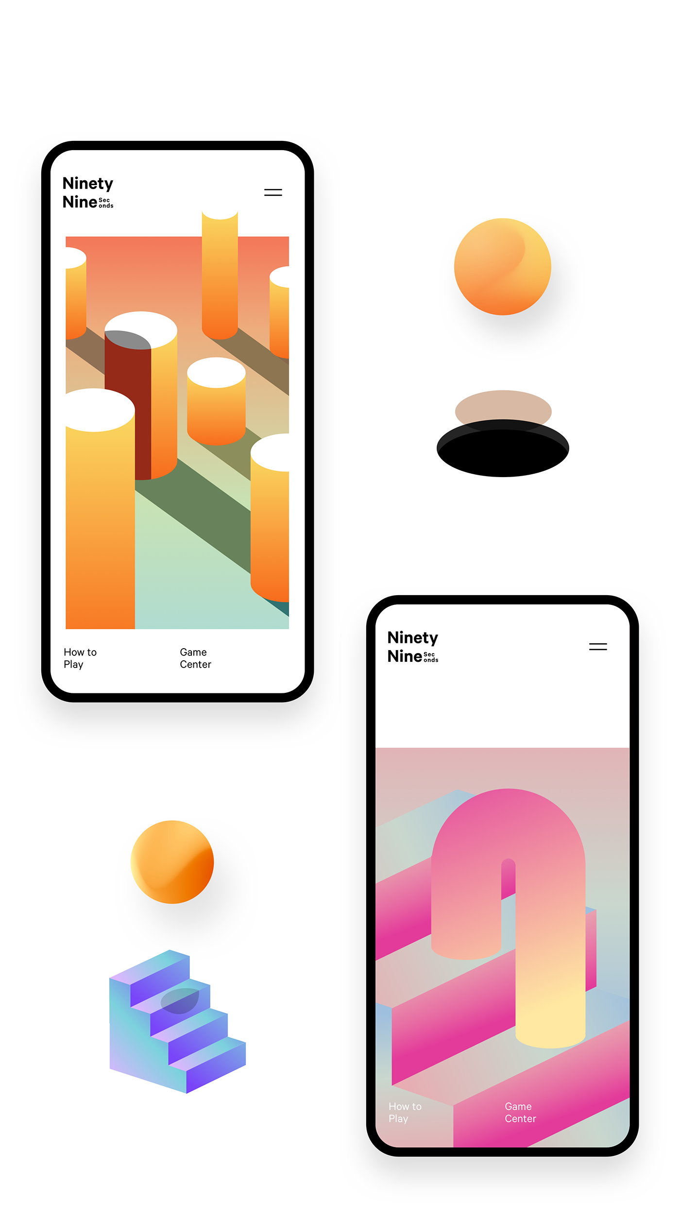 3D game unity gradient minimalist ios mobile colors design Interface