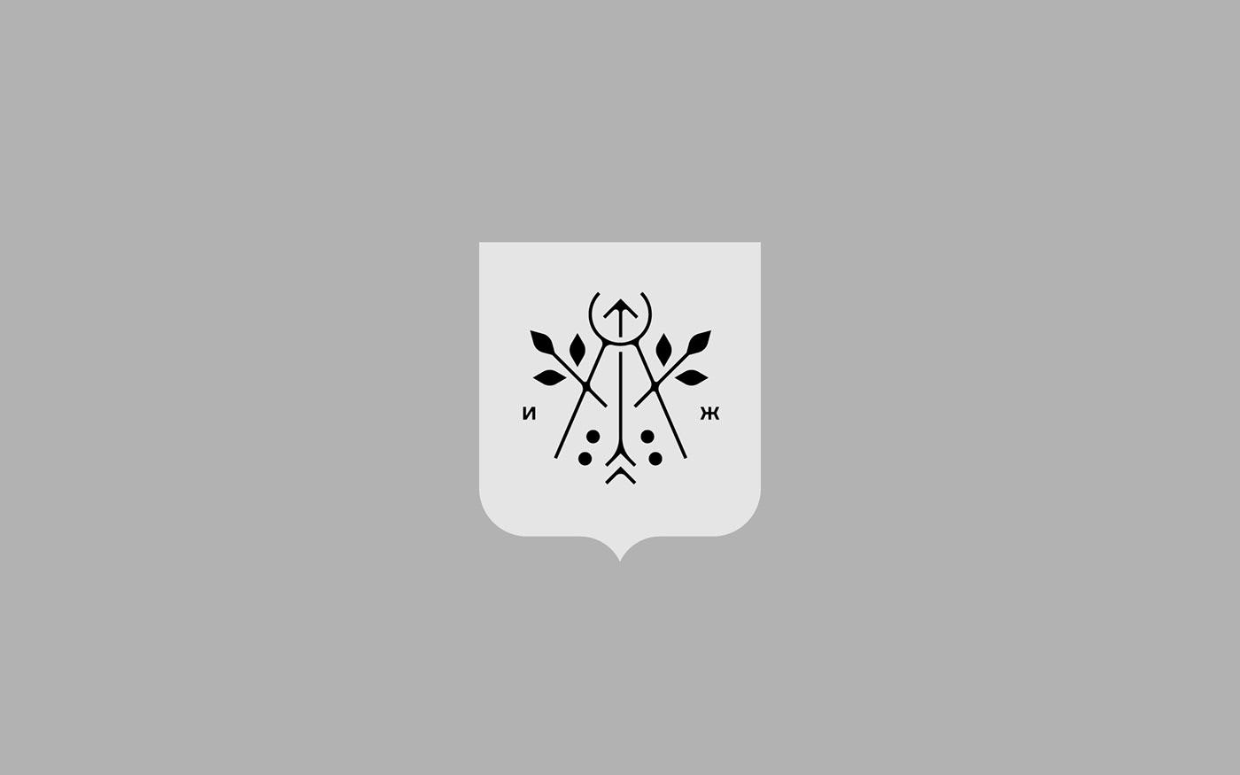 arrow city coat of arms geometry izhevsk Logotype Rowan shield Udmurtia