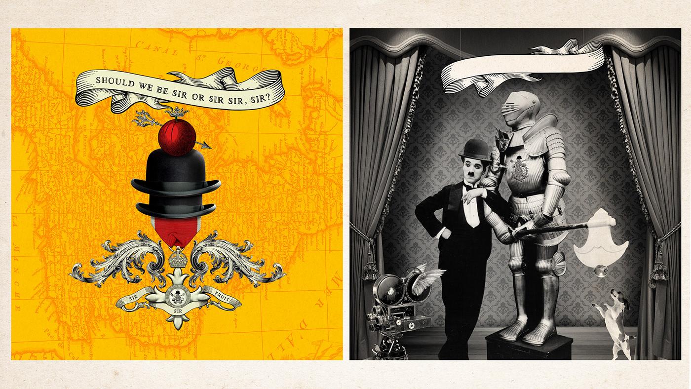 sir fruit knighthood mixed media ILLUSTRATION  art direction  Fruit campaign Logo Design royal social media