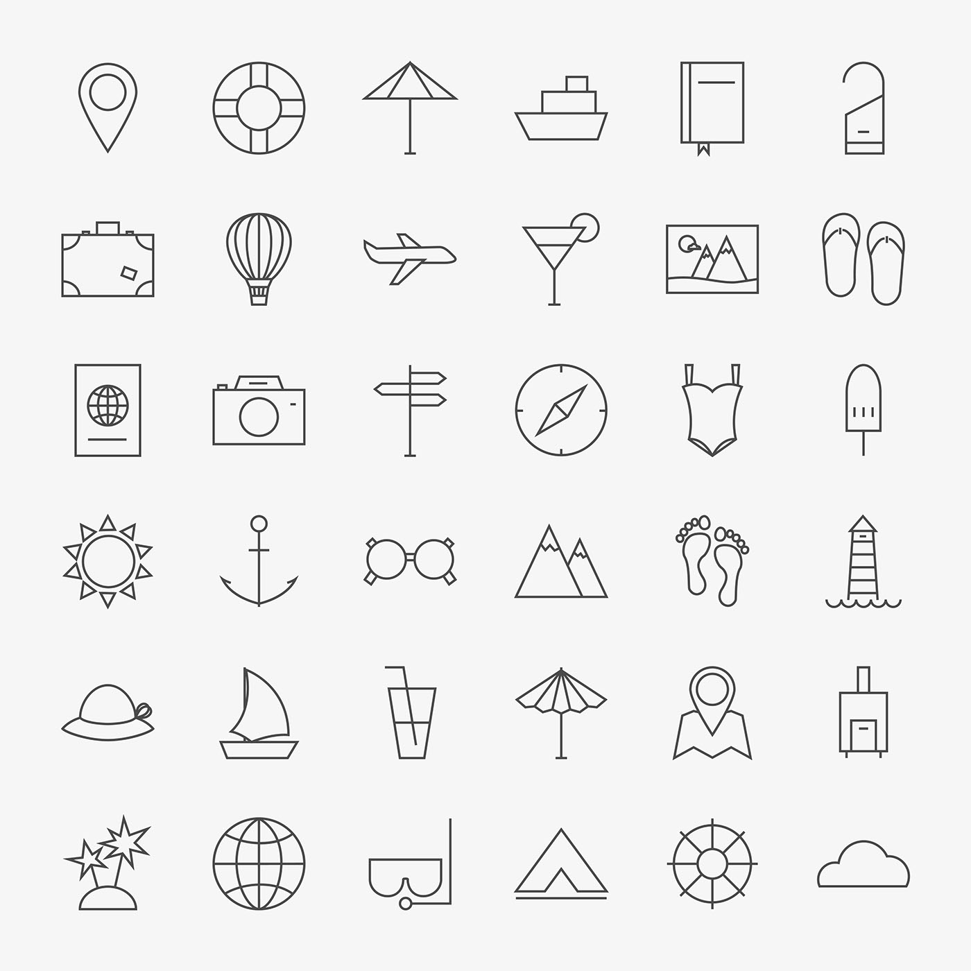 Line Art Icon : Line art travel icons on behance