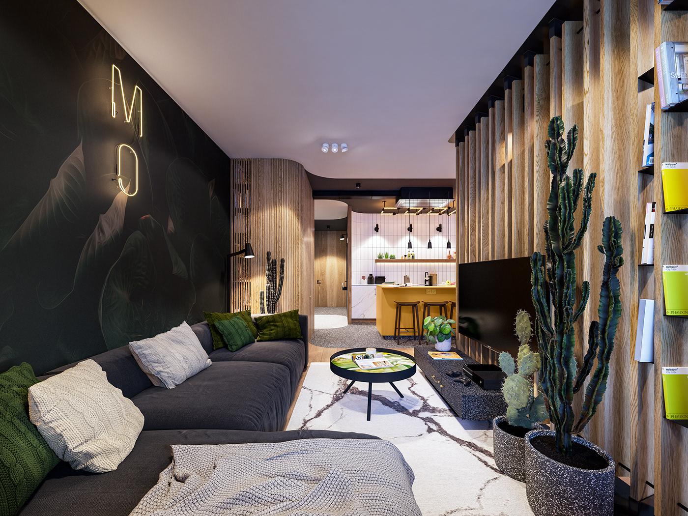 Interior design modern wood green cosy homey relax
