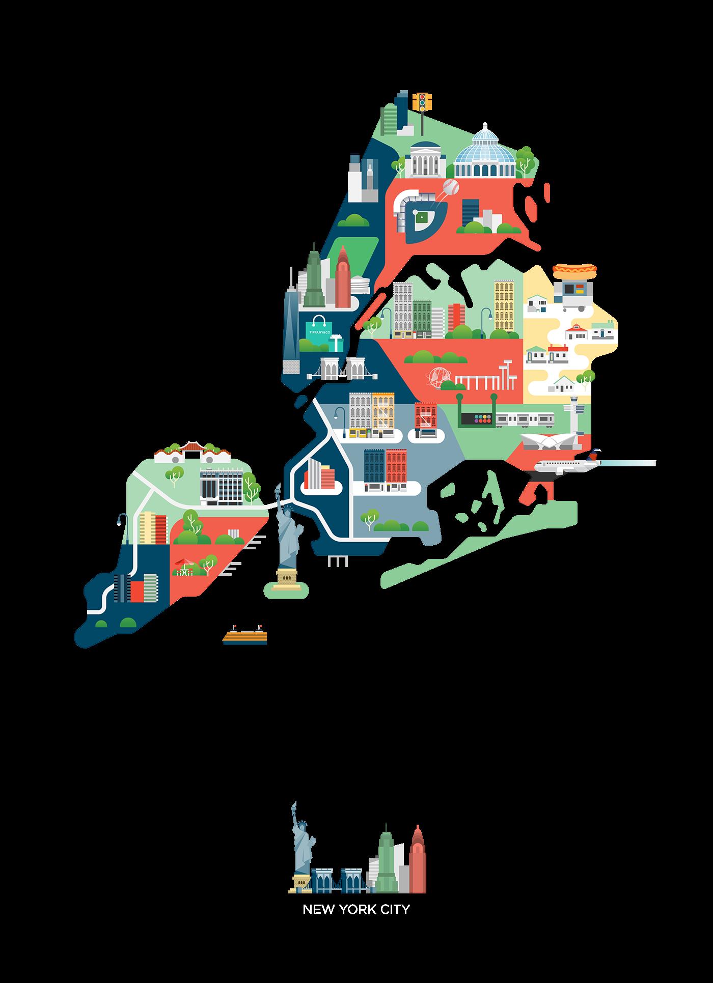 america map city nyc la California Vegas neworleans usa
