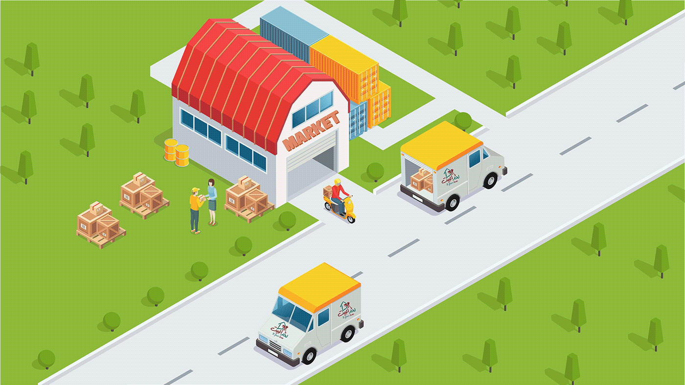 animation  app application delivery ILLUSTRATION  motion red
