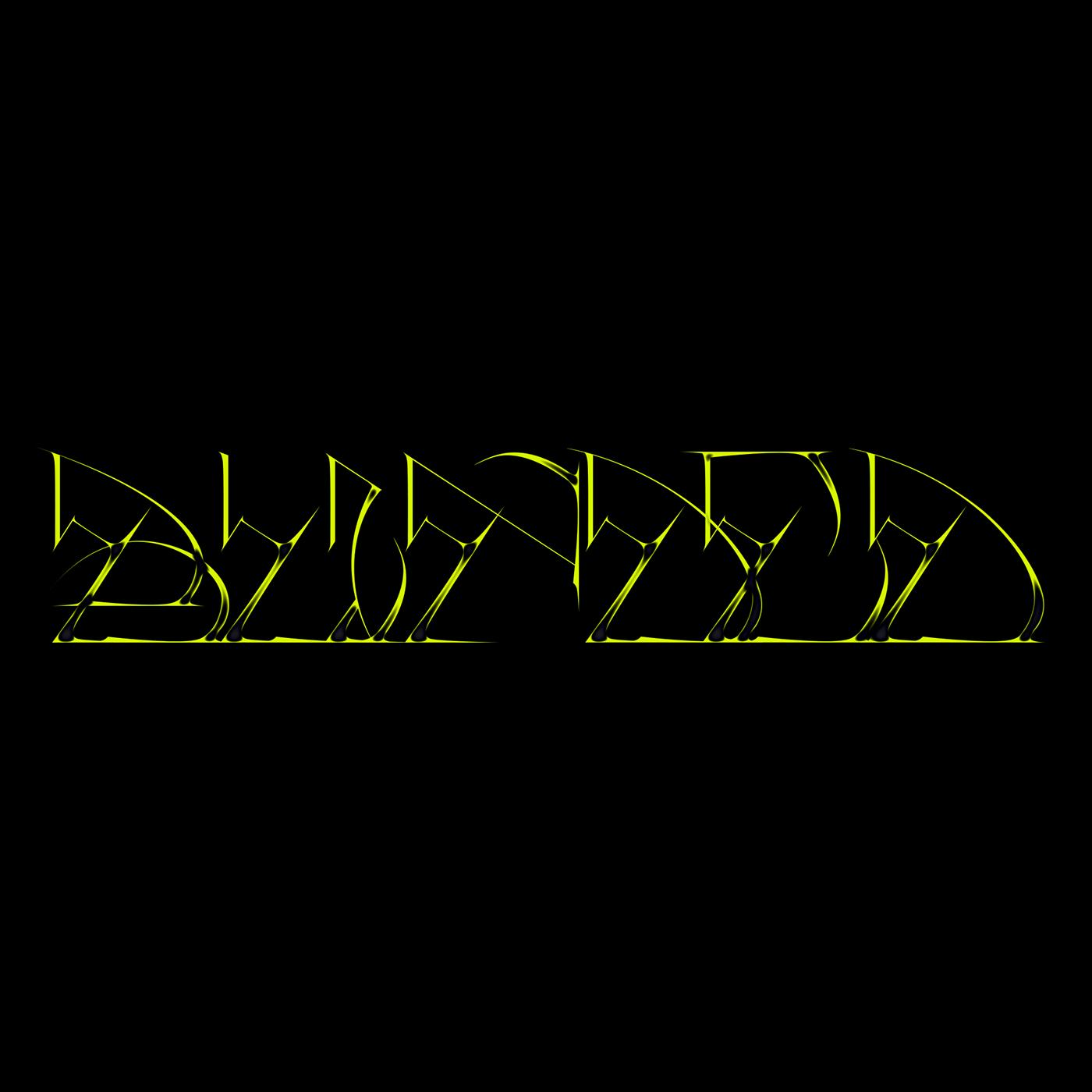 Typeface brand blinded 3D post-internet dark design custom type