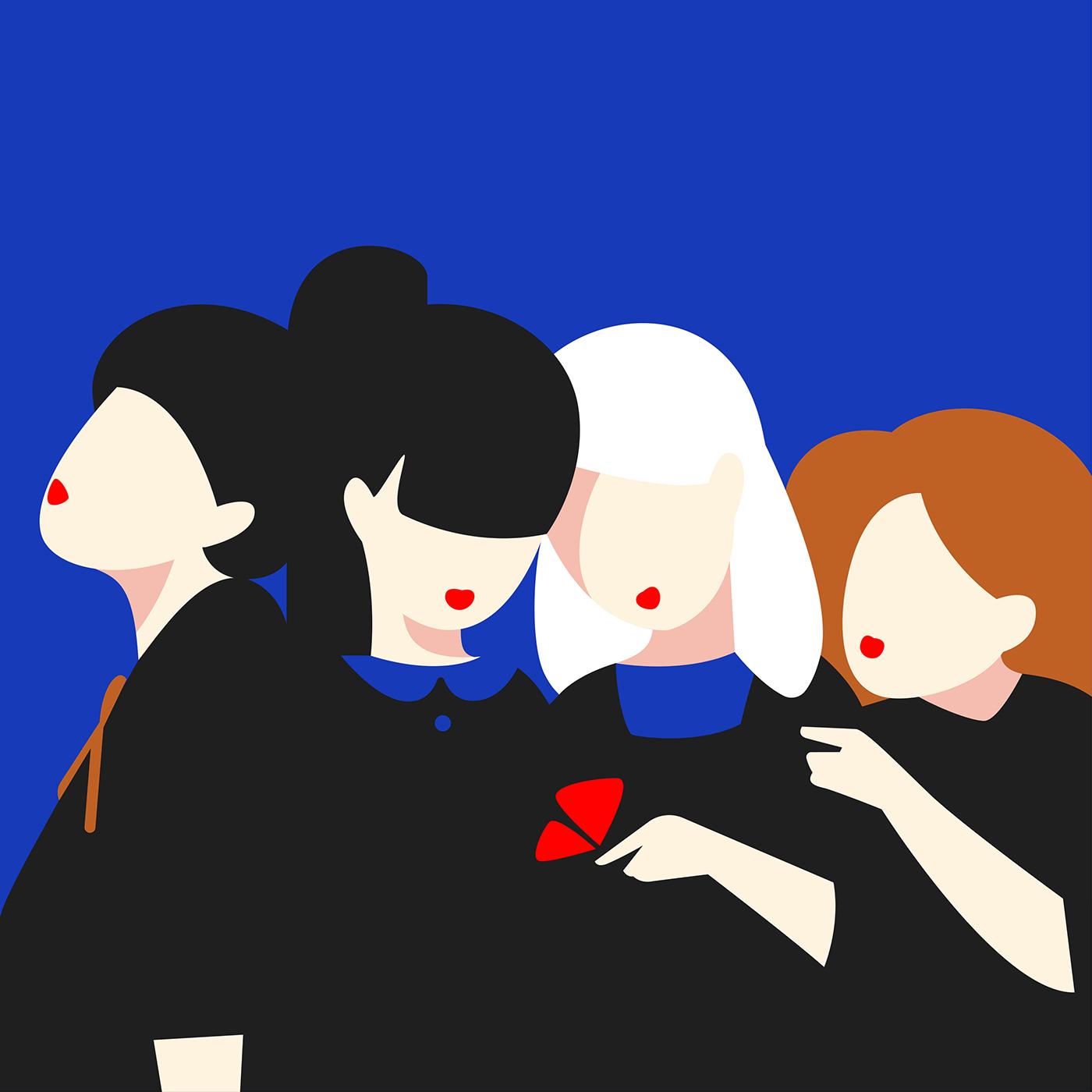 blue chicki girls ILLUSTRATION  Russia vector women conceptual idea MARIA FEDOSEEVA