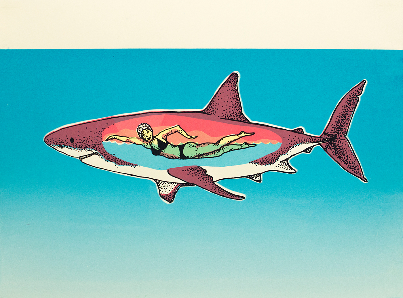 screenprint printmaking shark woman chart stiple Transparency swimming Ocean great White problem